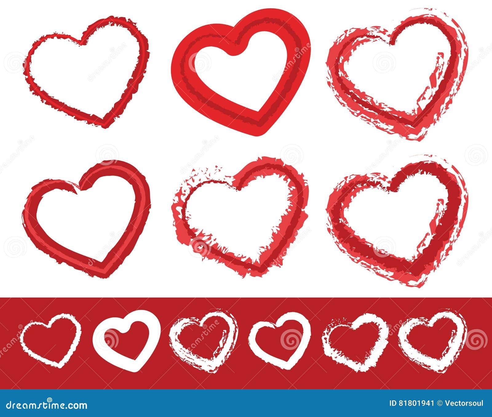 Malujący serce kształty Set 6 różnych grungy konturowych linii