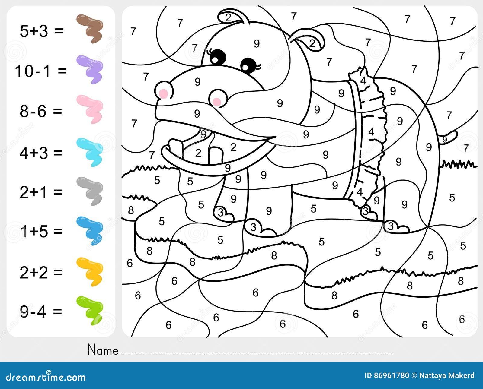 Maluje kolor liczbami - dodatek i odejmowania worksheet dla edukaci