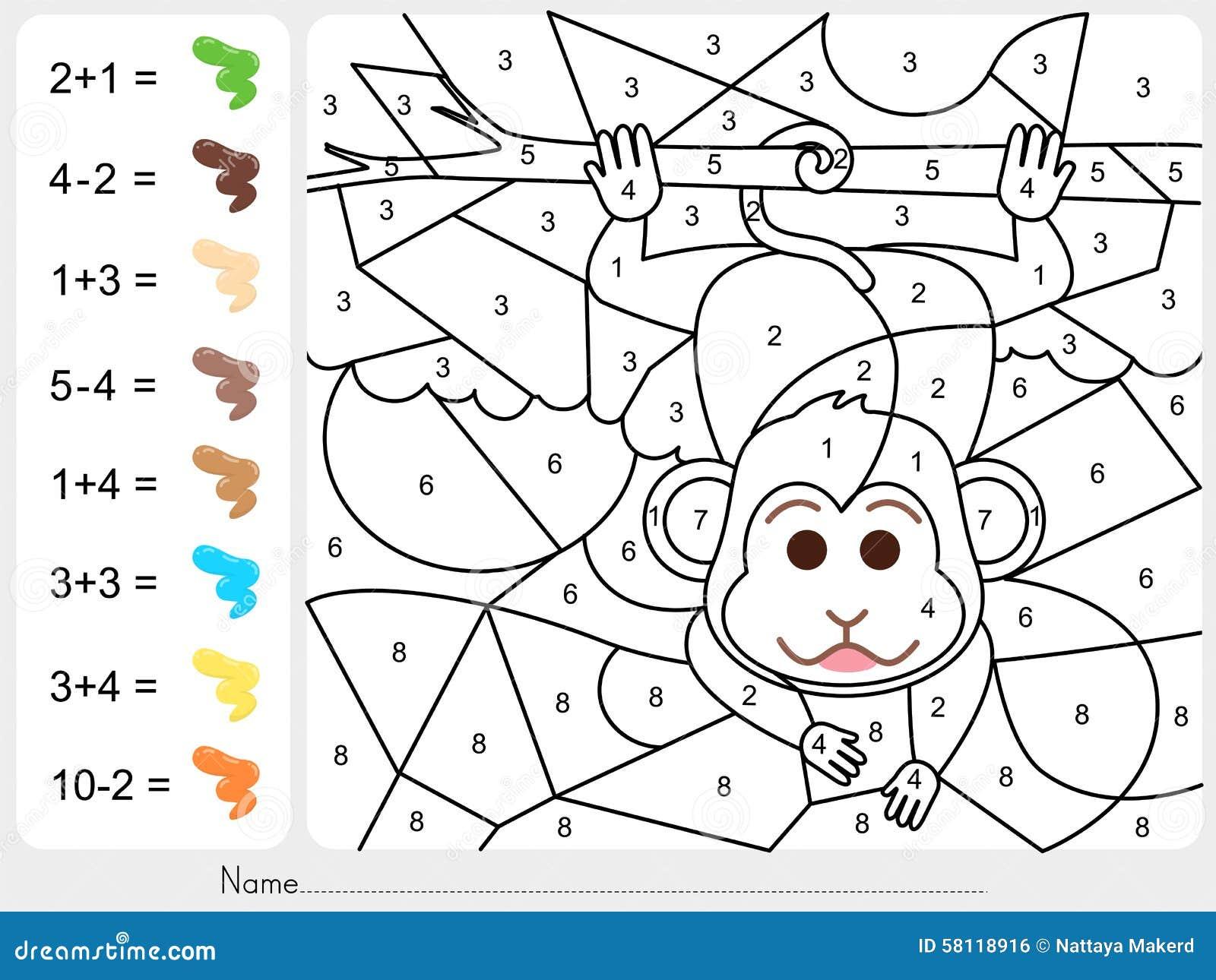 Maluje kolor liczbami - Worksheet dla edukaci