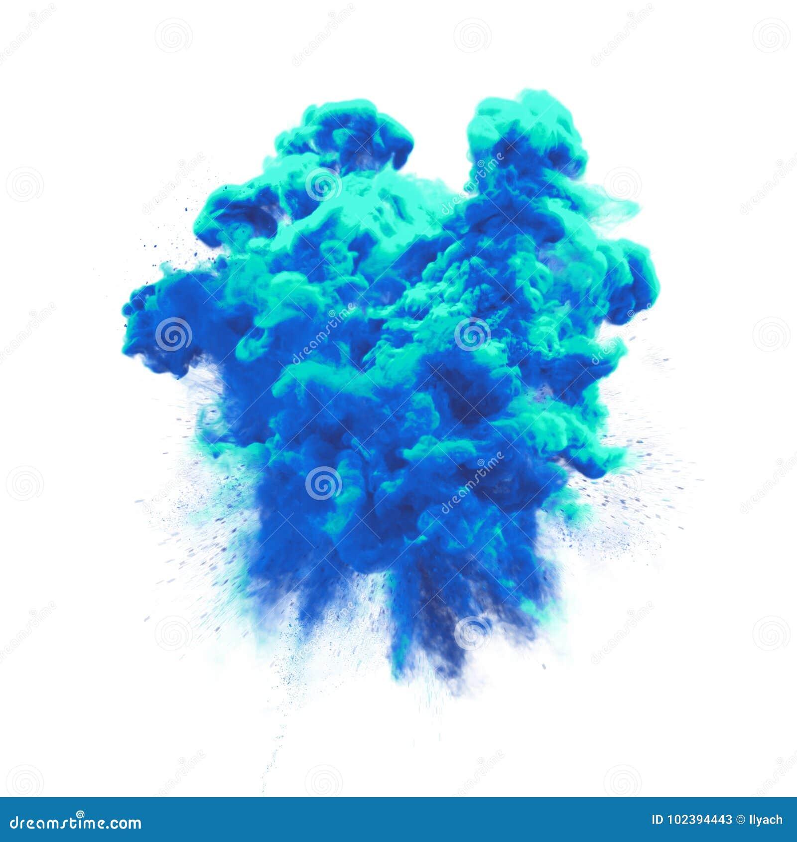 Maluje prochowego błękita koloru wybuchu cząsteczki pyłu chmury pluśnięcia tekstury abstrakcjonistycznego tło