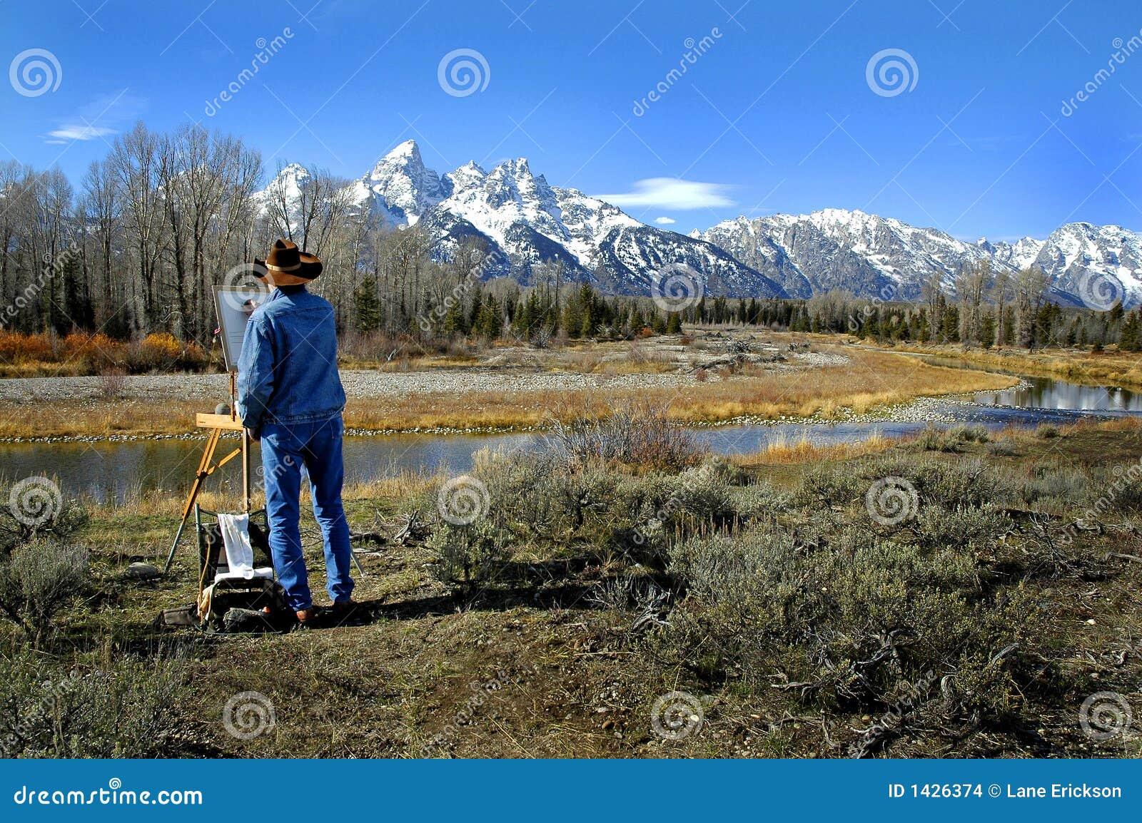 Maluje teton kowbojskie góry