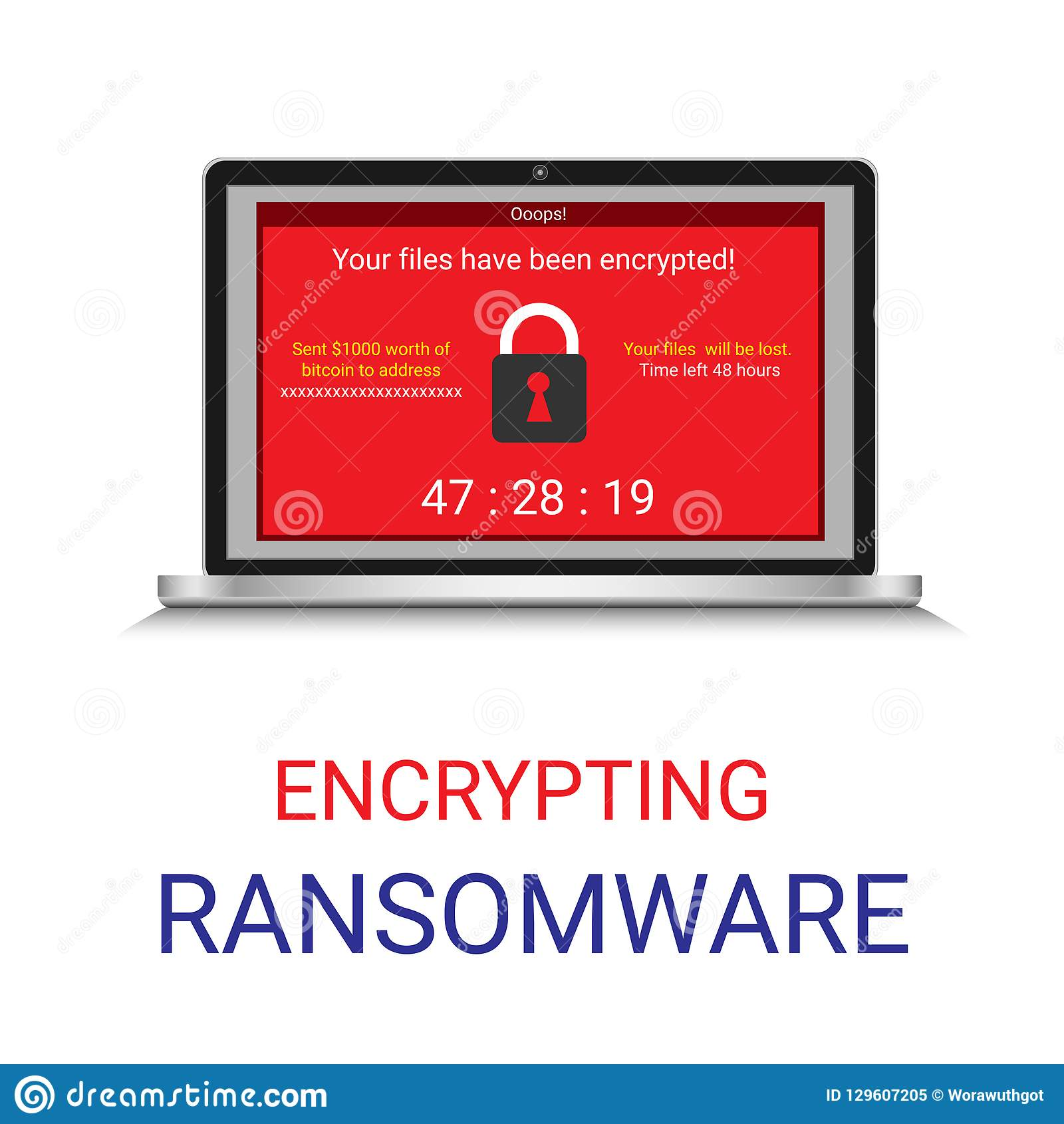 Malware encrypted file in computer, Ransomware.