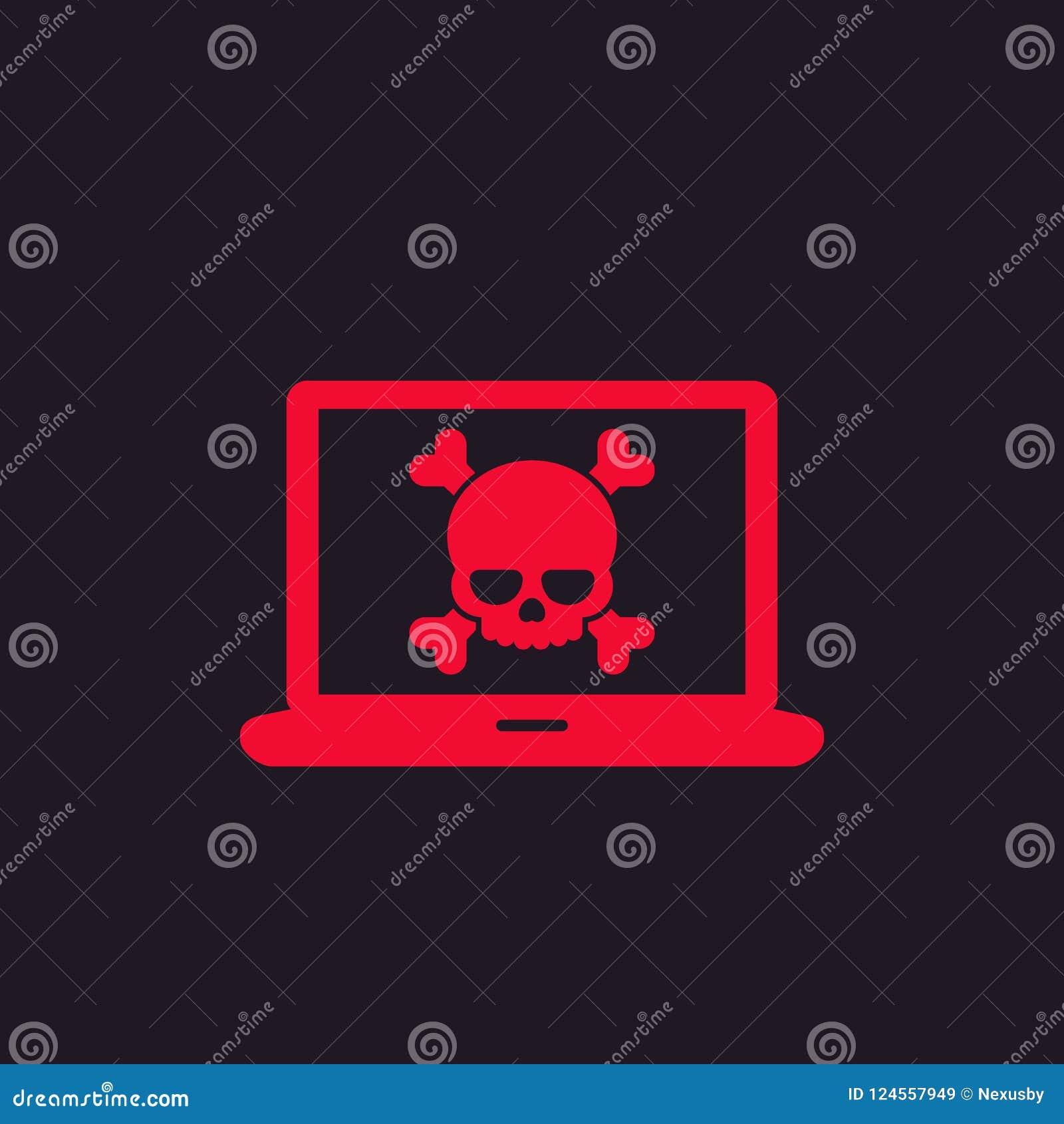 Malware, spam, σε απευθείας σύνδεση απάτη, εικονίδιο ιών υπολογιστών