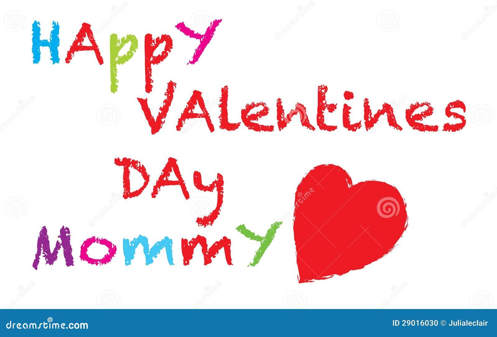Mamá Feliz Del Día De Tarjetas Del Día De San Valentín Stock De