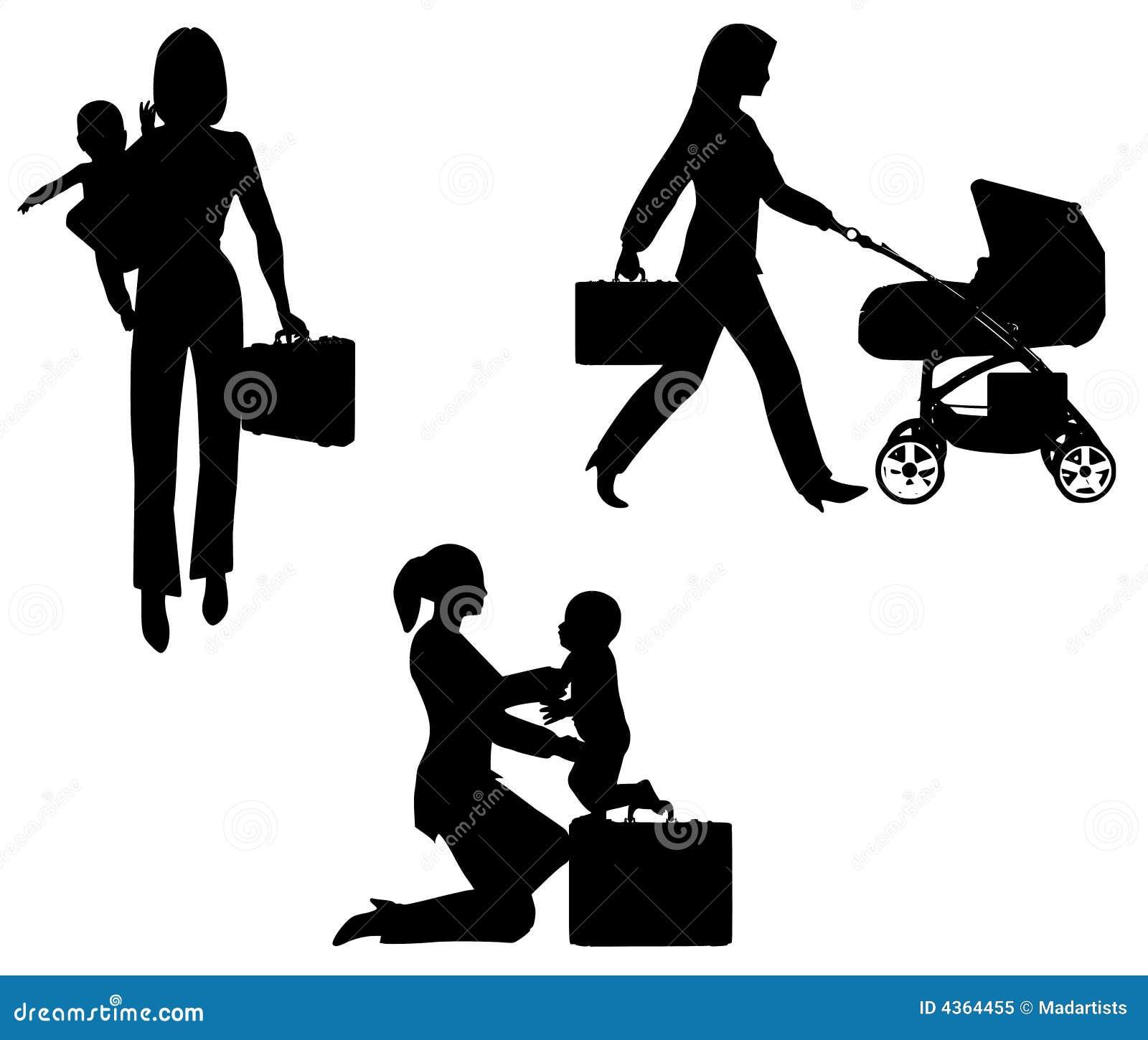 Mamã de trabalho com bebê