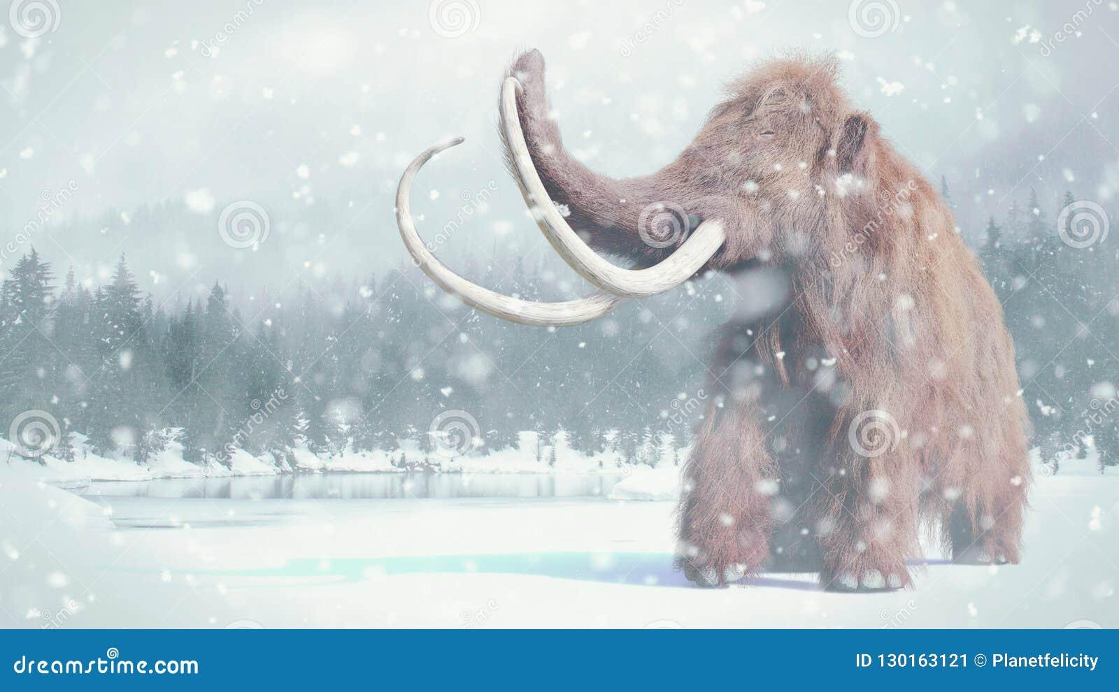 Mamífero gigantesco, pré-histórico felpudo na paisagem nevado da idade do gelo