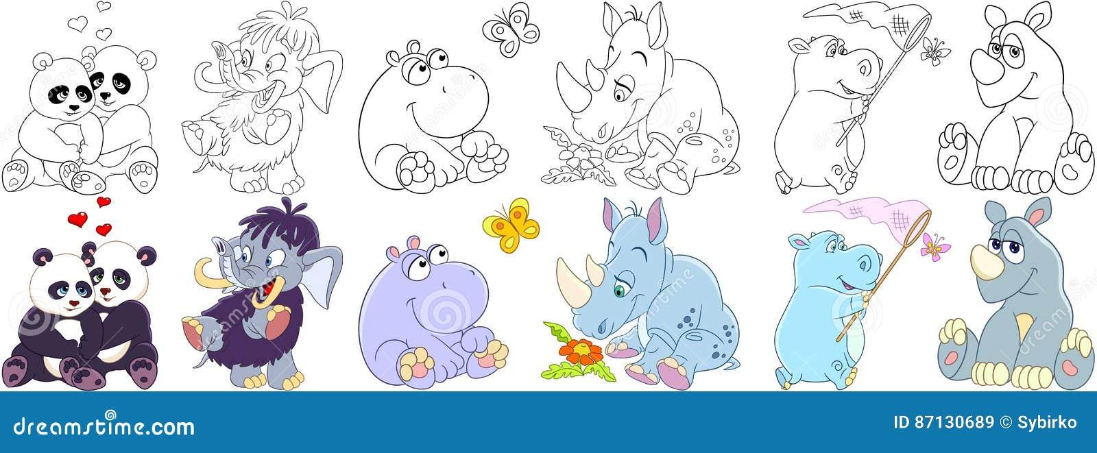Mamíferos dos animais dos desenhos animados ajustados