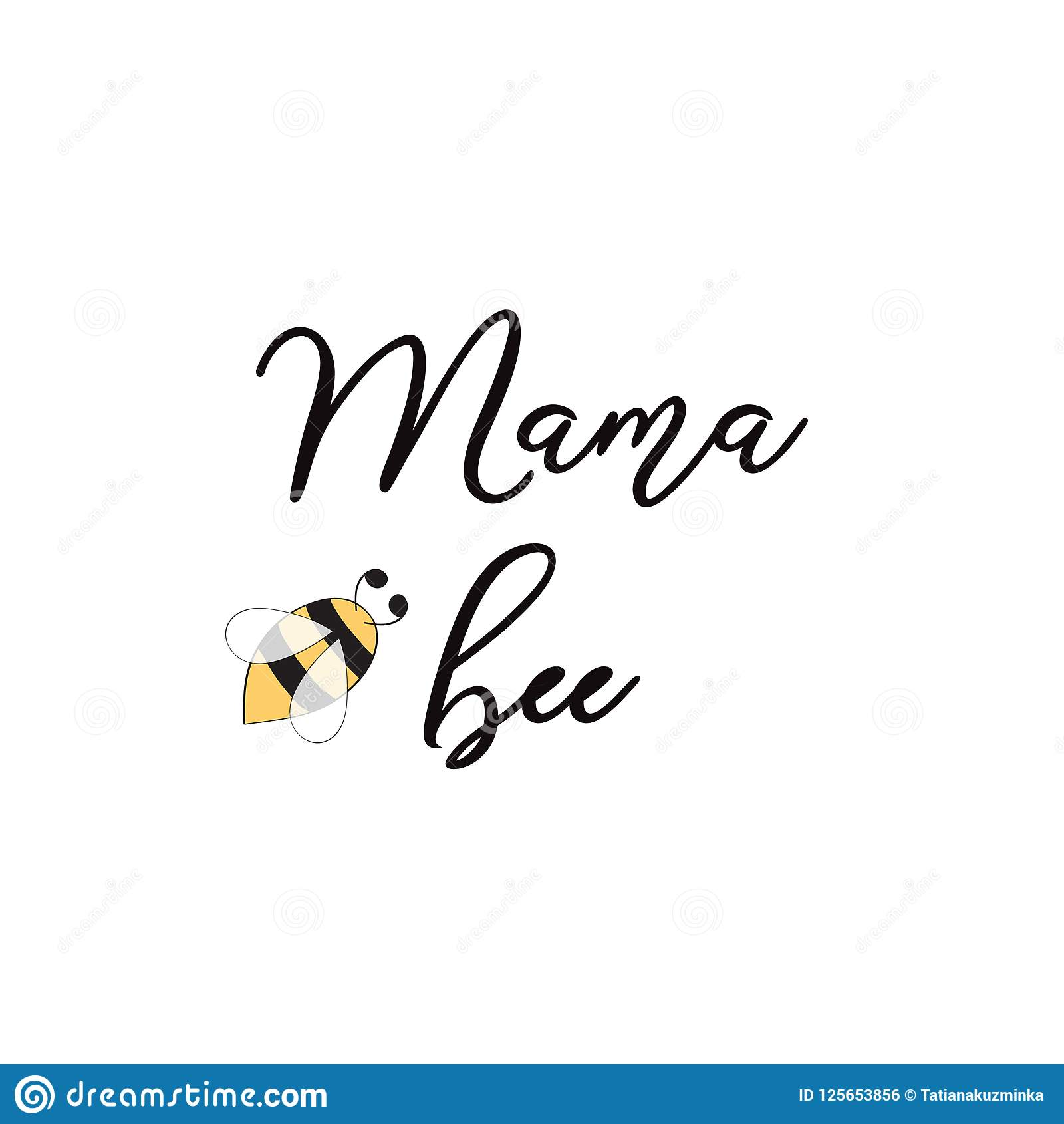 Mama Bee Phrase Bee On White Background Cute Card Design For Mothers ...