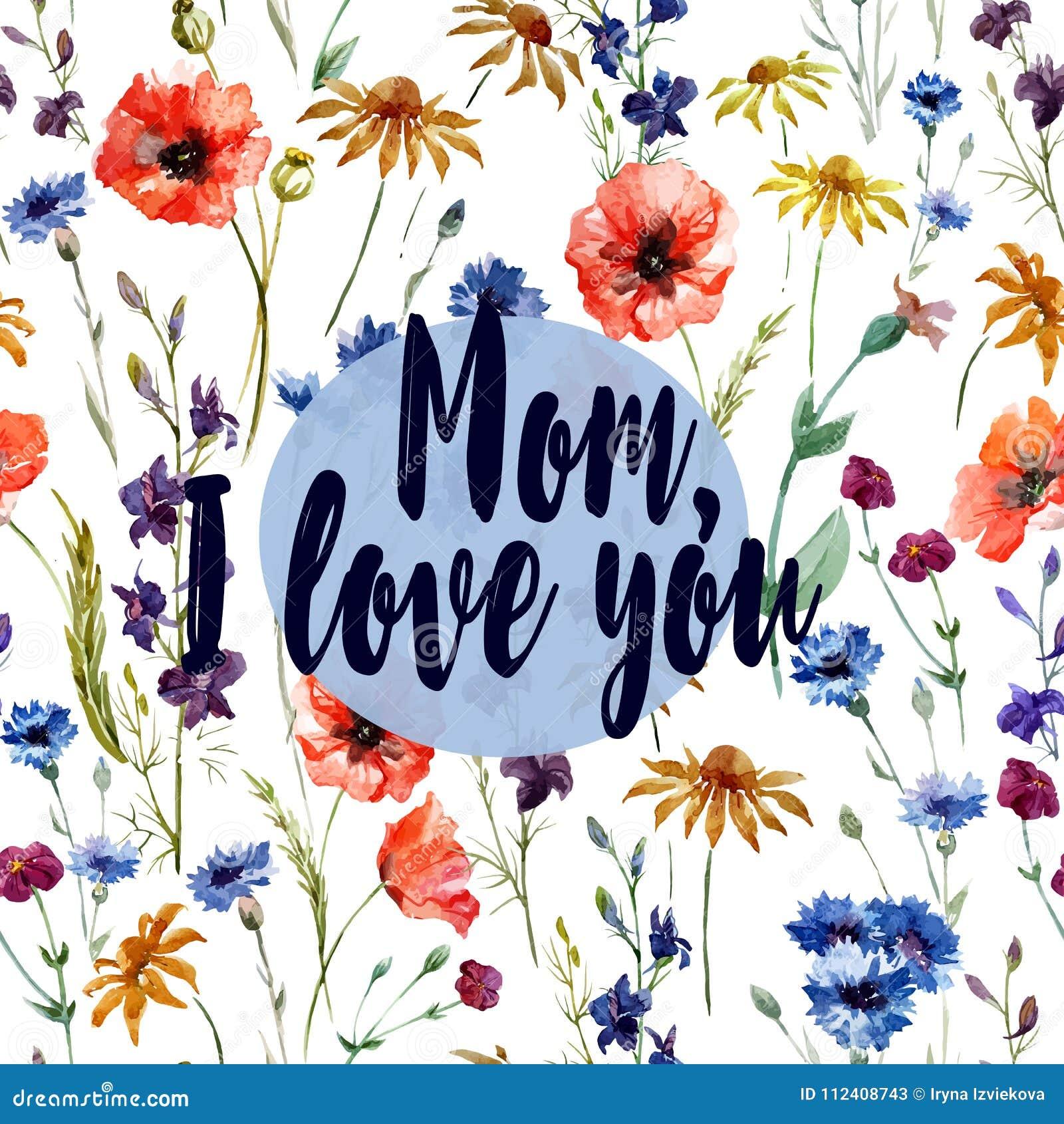 Mama kocham ciebie - kartka z pozdrowieniami Kwiat akwareli wzór