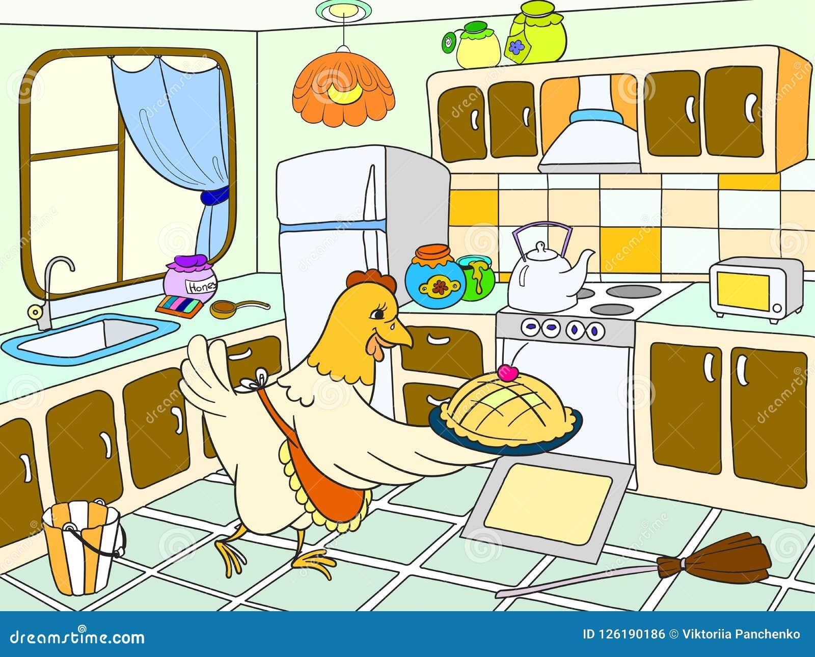 Mama Kurczak W Kuchni Przygotowywa Jedzenie Dla Rodzinnej