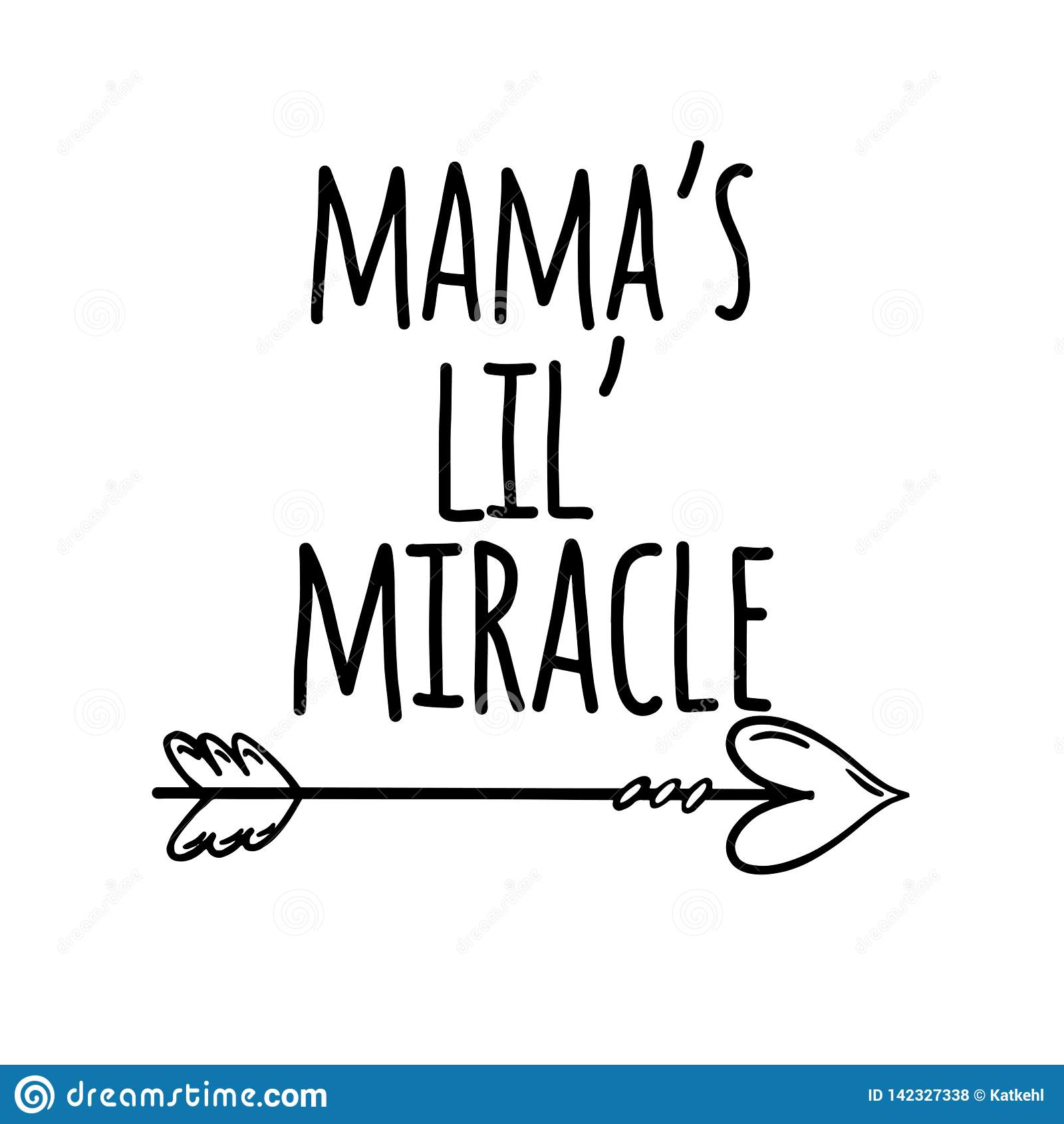 Mama`s lil` miracle hand lettering