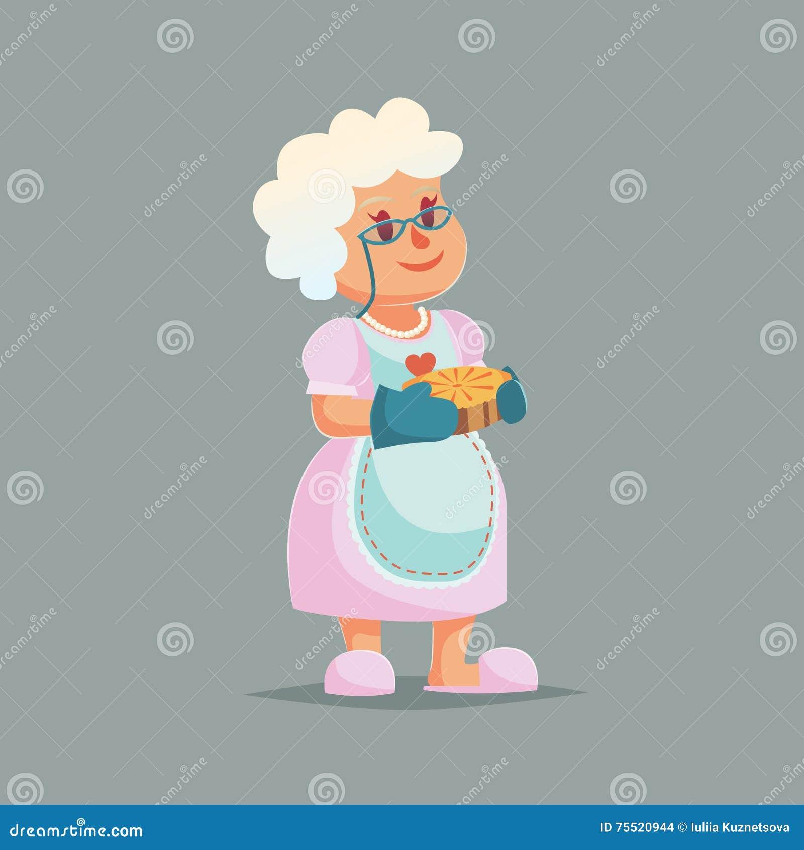 Mamie mignonne en verres tenant le tarte illustration - Dessin de mamie ...