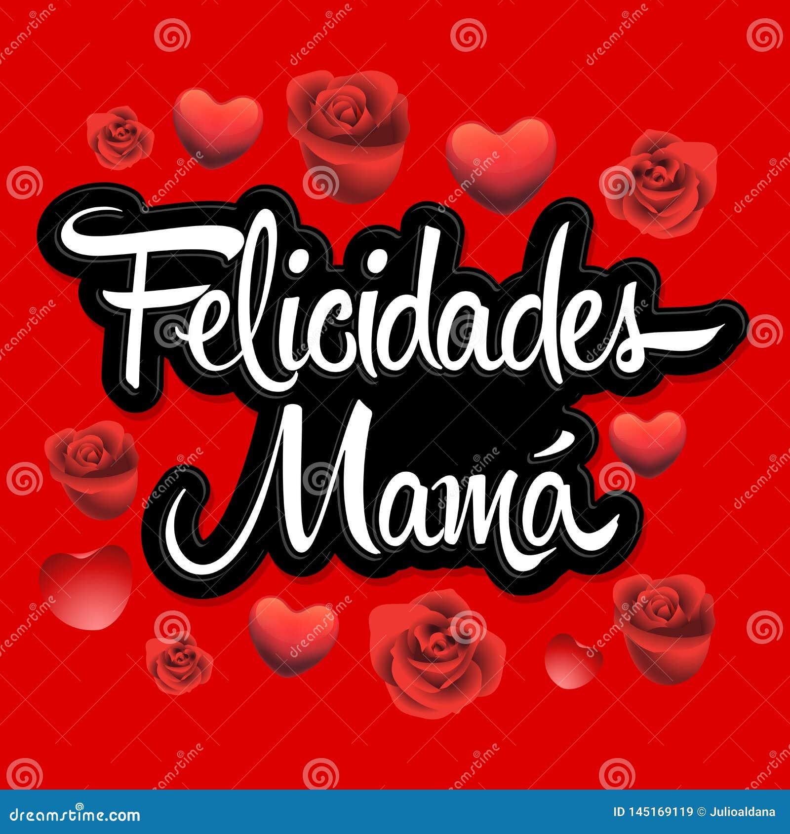 Mamma di Felicidades, illustrazione spagnola di vettore del testo della madre di Congrats