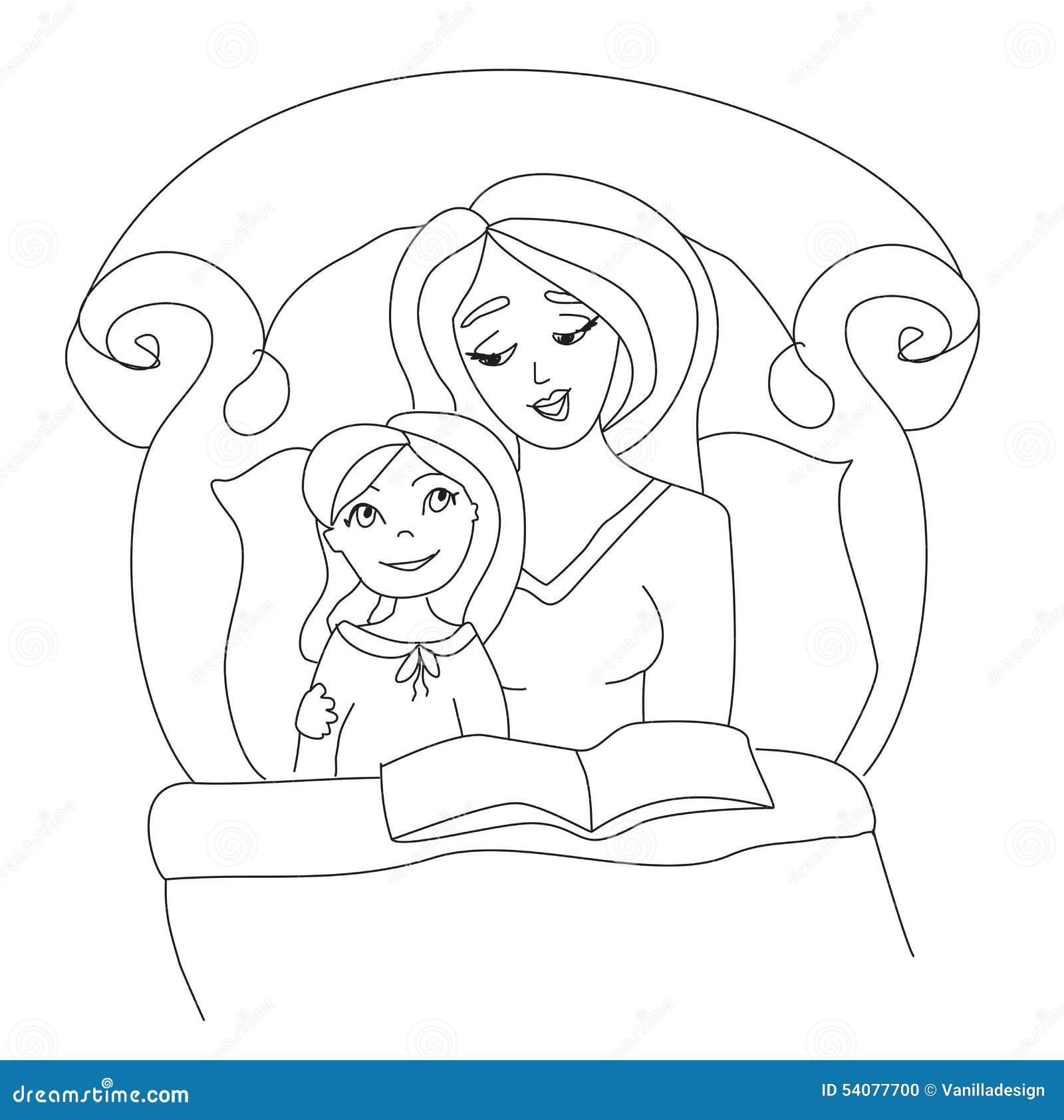 Mamma die een boek lezen aan haar jong geitje