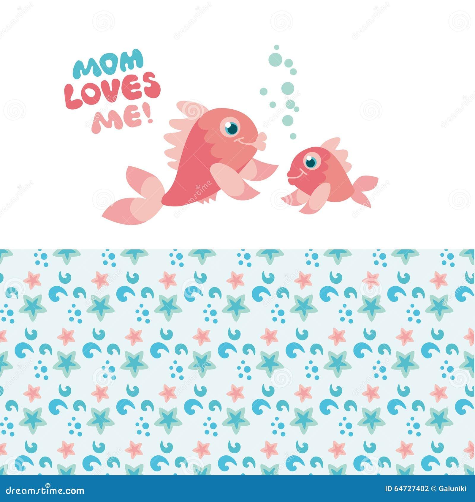 Mamma e bambino del pesce