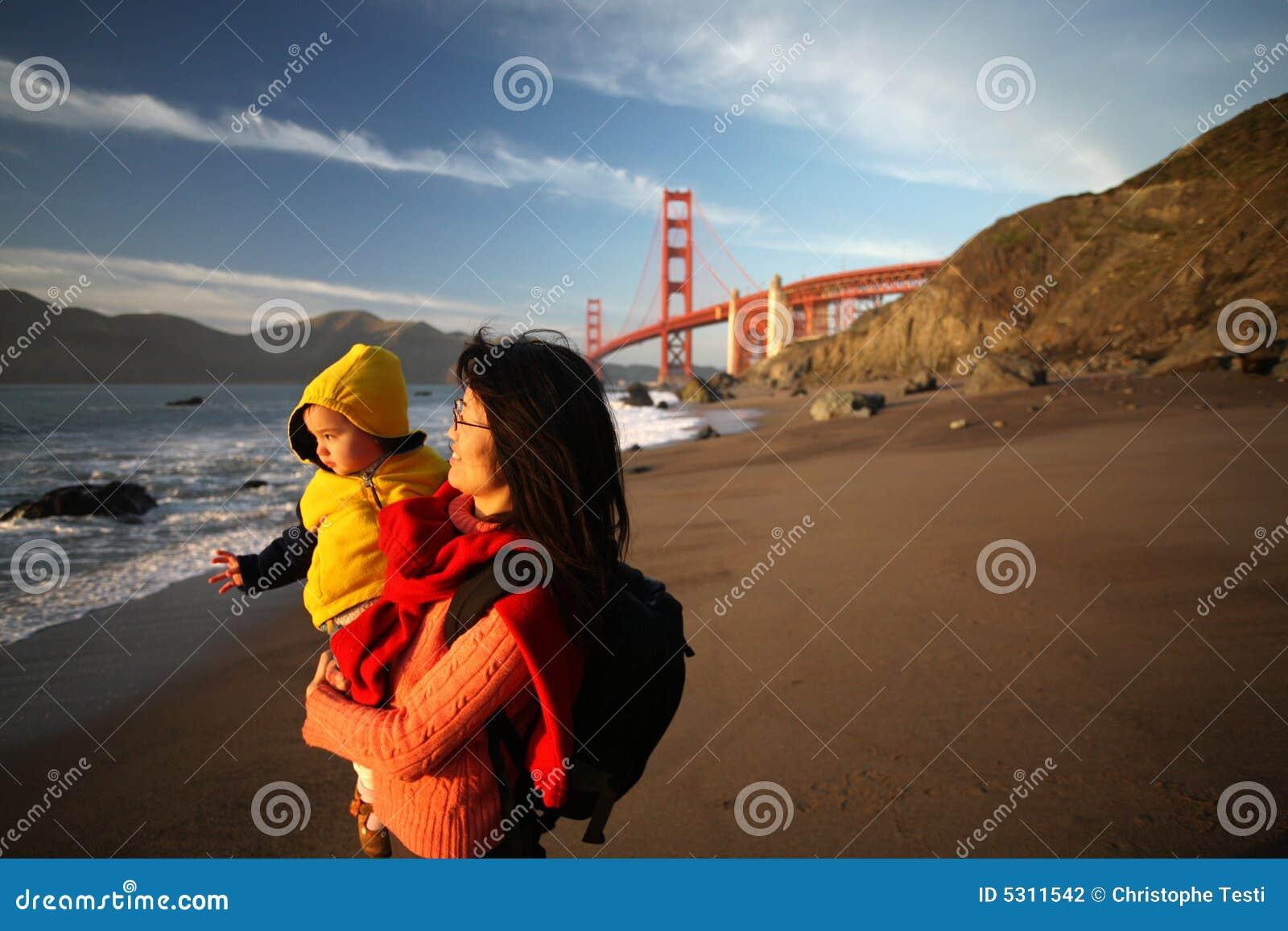 Download Mamma E Figlia Che Godono Del Tramonto Sul Cancello Dorato Fotografia Stock - Immagine di francisco, cancello: 5311542