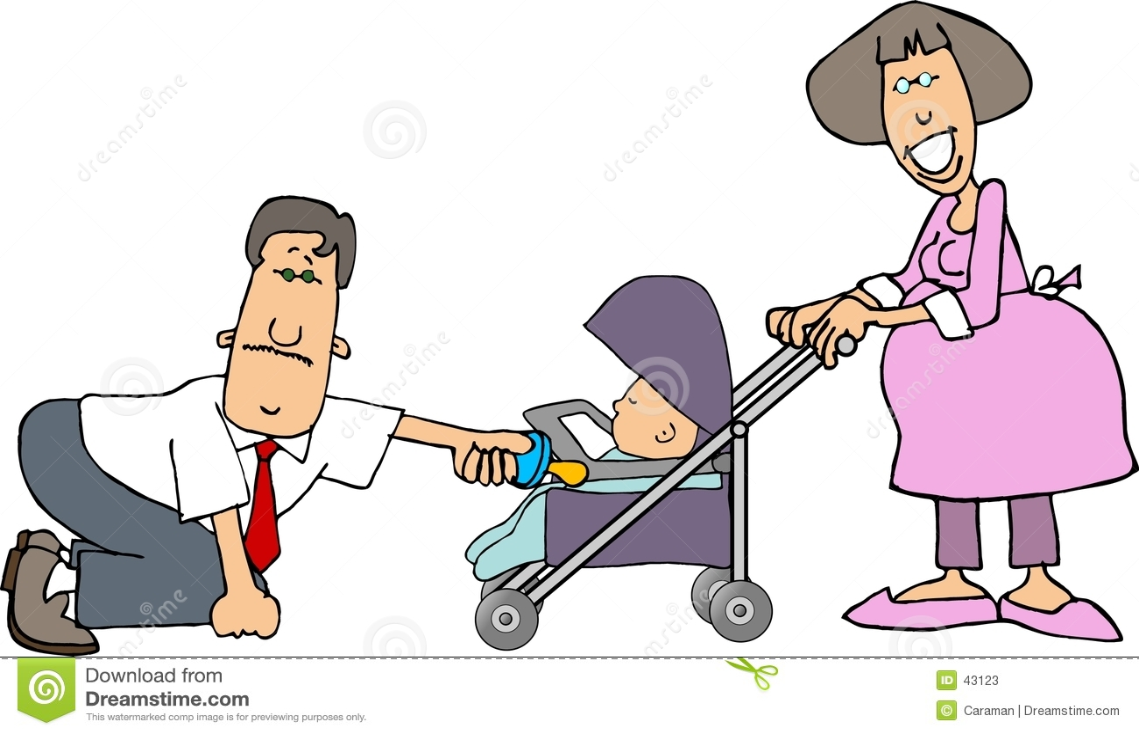 Mamma, Vati und ein Schätzchen in einem Spaziergänger