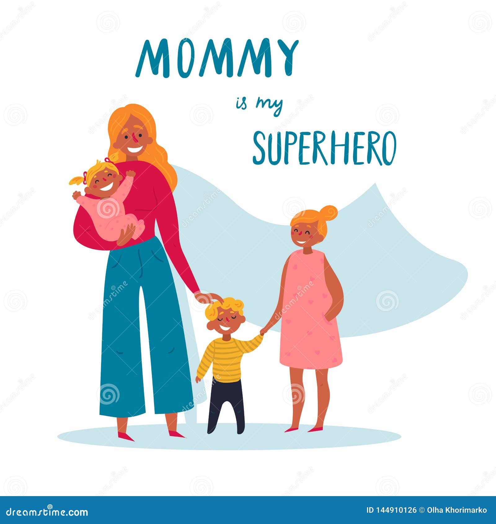 Mamman är min superherotext För lycklig dag för moder s