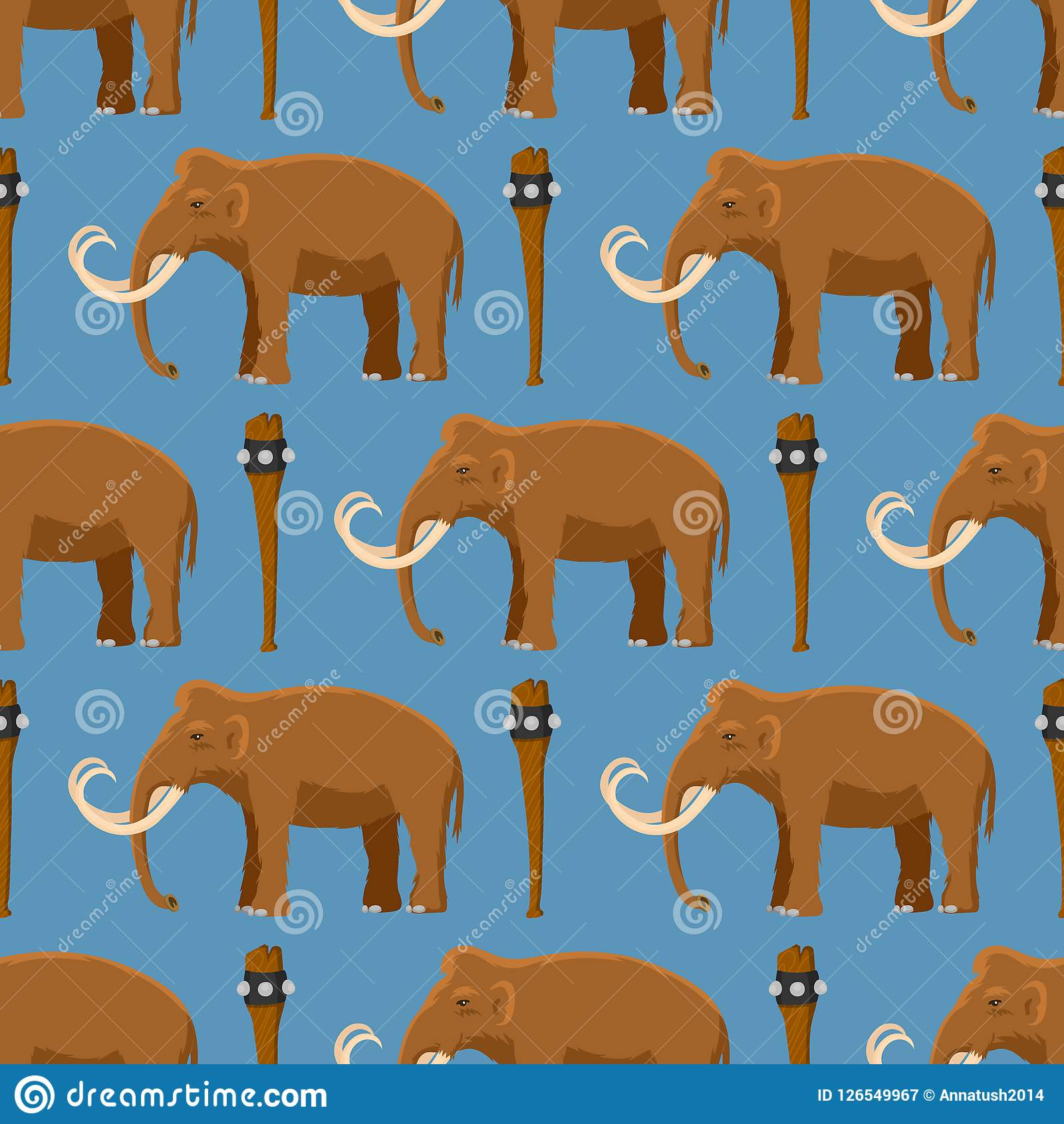 Mammoth Vector Mammal Animal Character With Tusk And Trunk In
