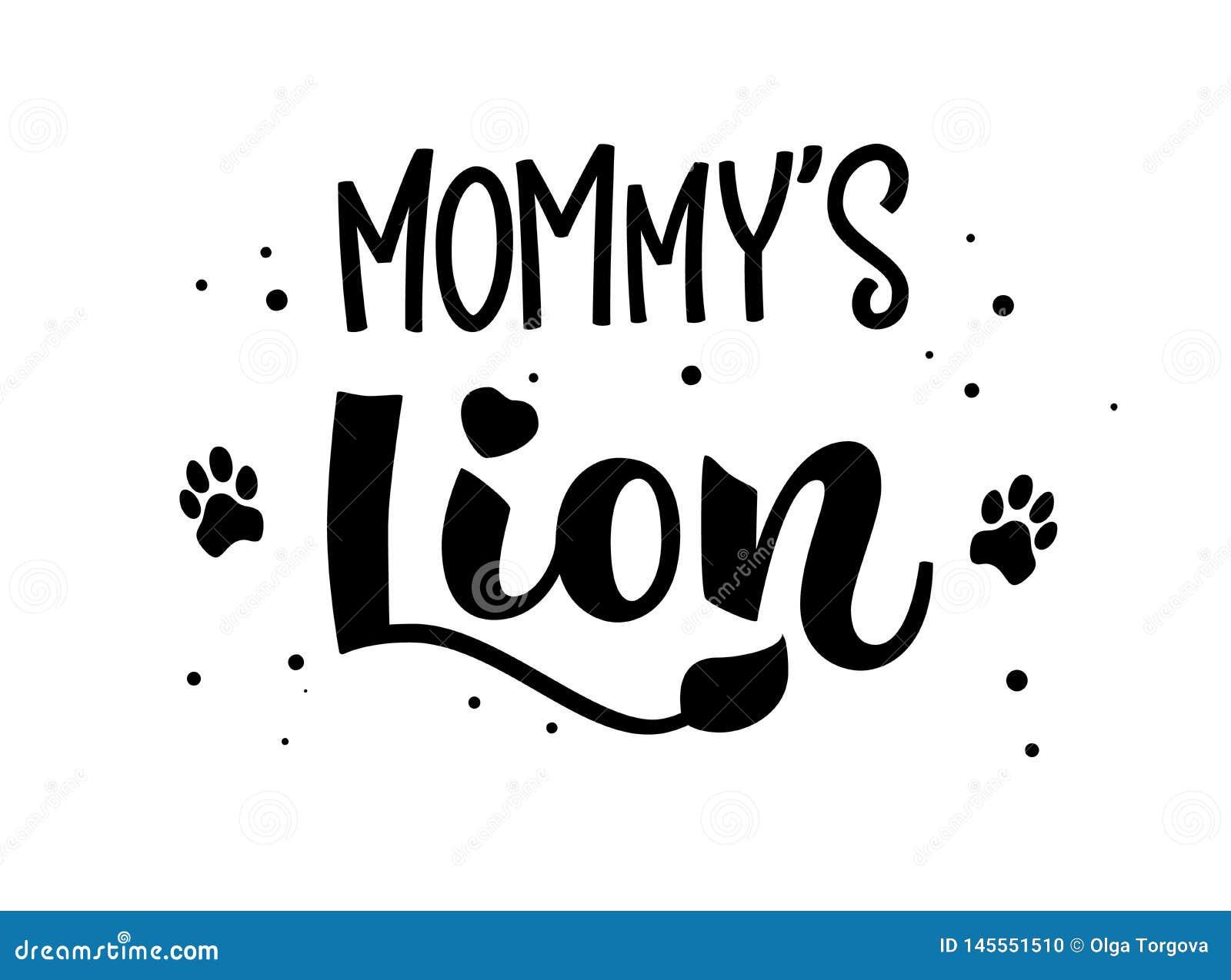 Mamusia lwa ręki remisu kaligrafii pisma literowania whith kropkuje, pluśnięcia i tygrysów odciski stopi decore
