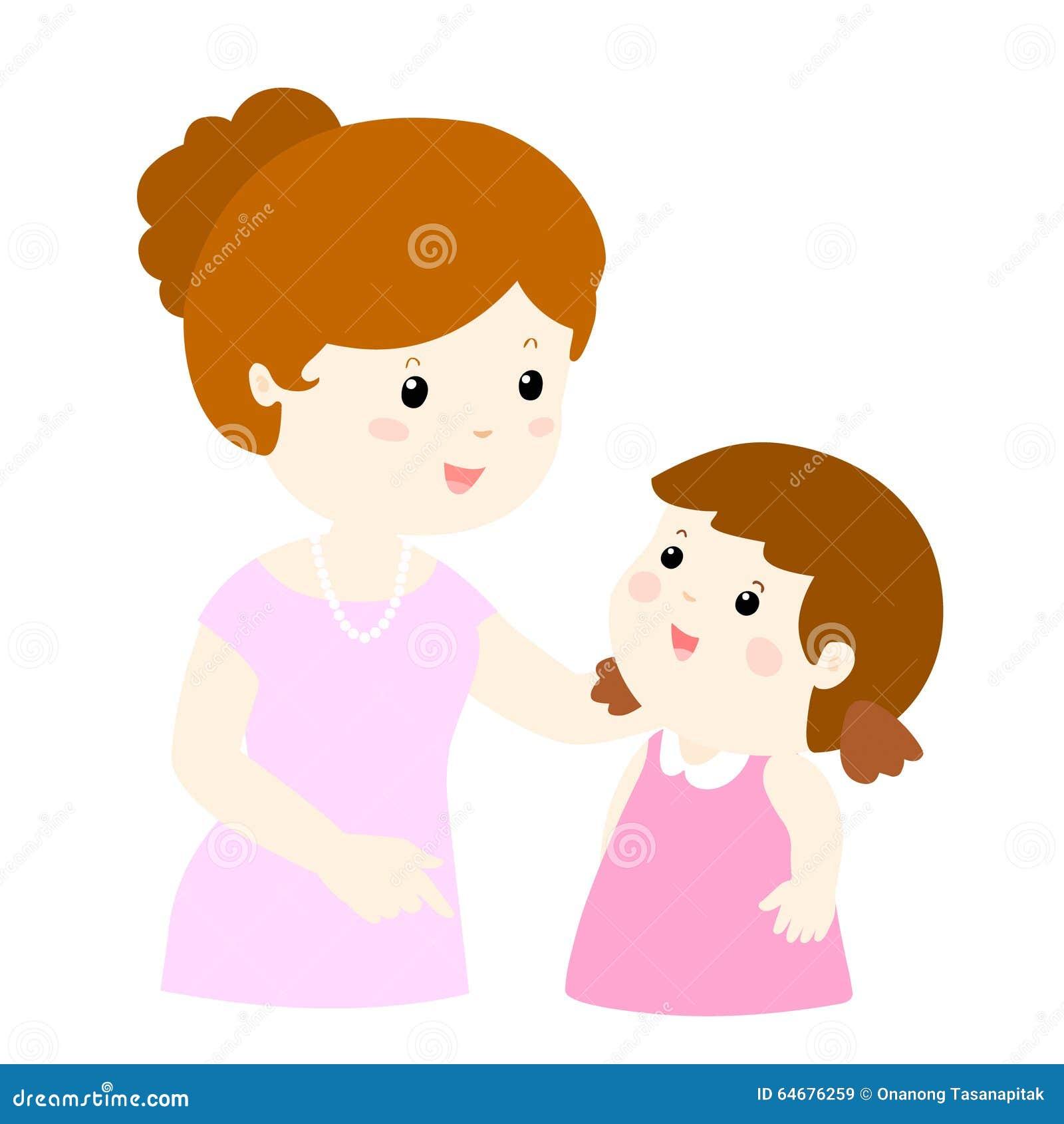 Mamy rozmowa jej córki delikatnie kreskówka