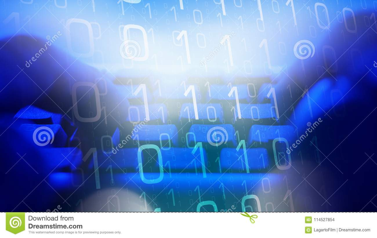 Cybersecurity Future Computer Worker, Safe Net Stock Photo - Image