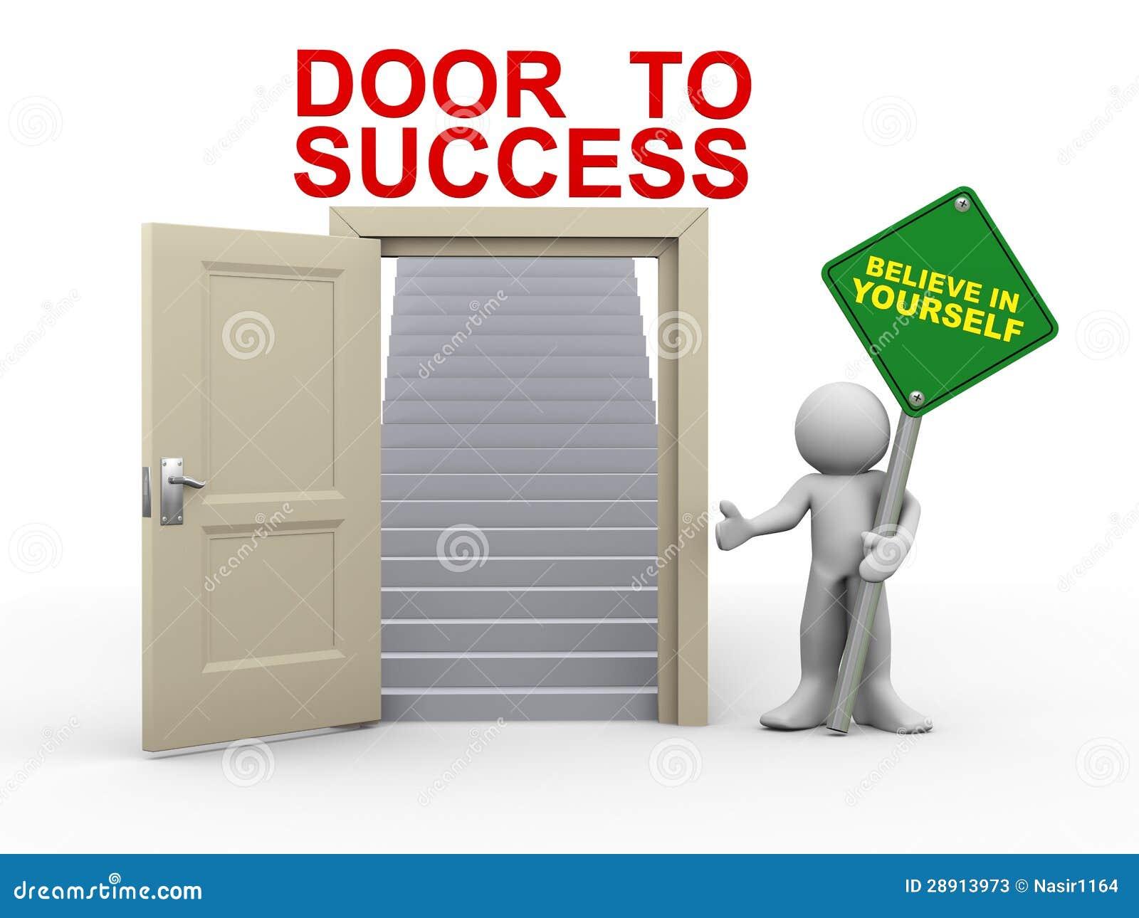 Man 3d och dörr till framgång