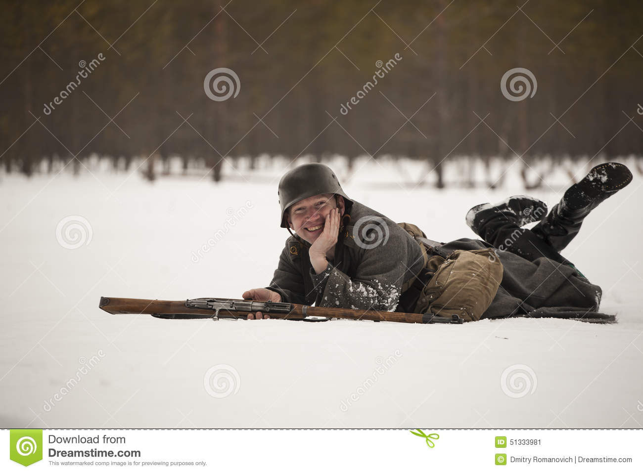 Man Acting WWII Finnish Soldier Stock Image - Image of