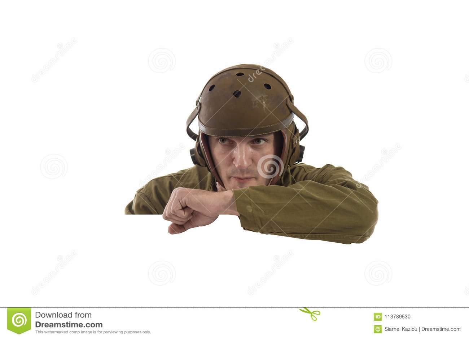 Man actor in military uniform of American tankman of World War II