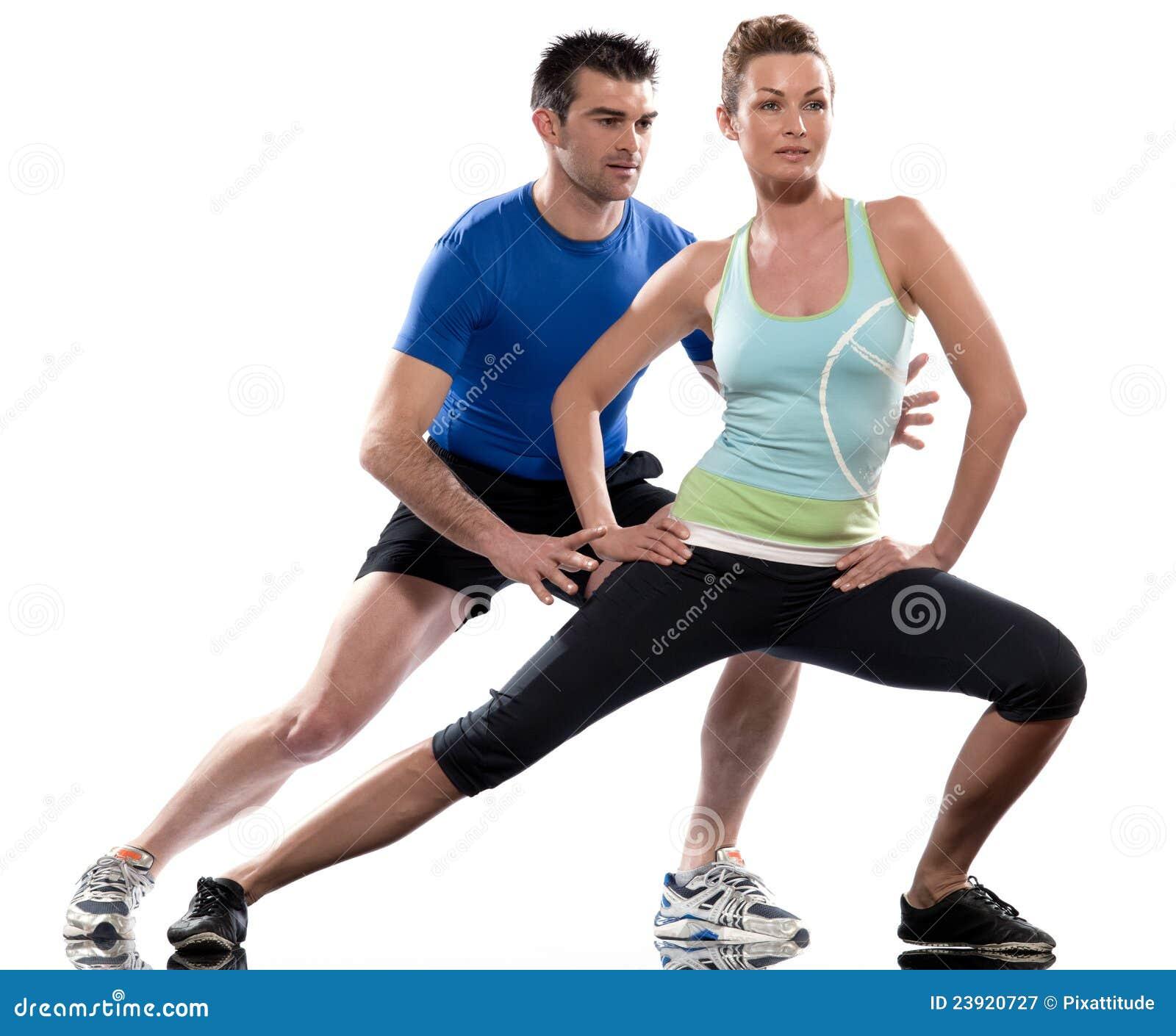 Man Workout: Man Aerobic Trainer Positioning Woman Workout Stock Image