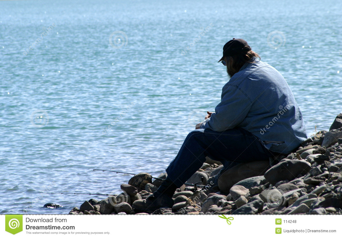 Download Man Alone at the Lake stock photo. Image of sitting, green - 114248