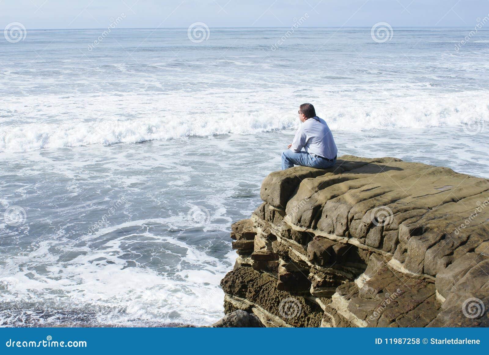 Man Alone Meditating or Thinking