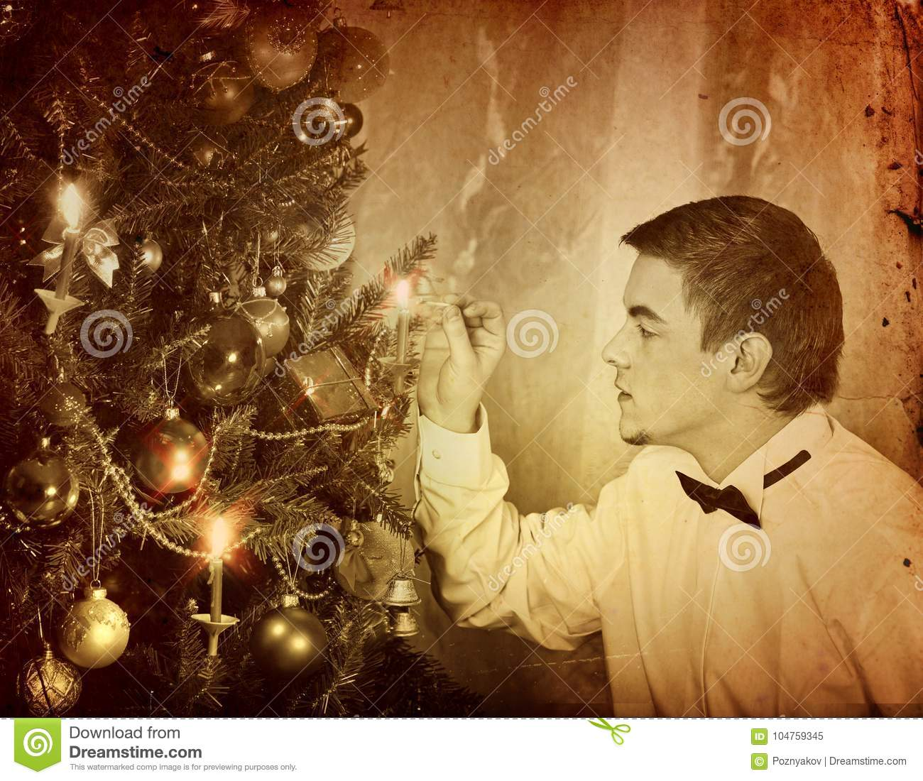 man alone put up christmas tree expectation of holiday on eve of xmas party at home alone black and white xmas vintage image - Home Alone White Christmas
