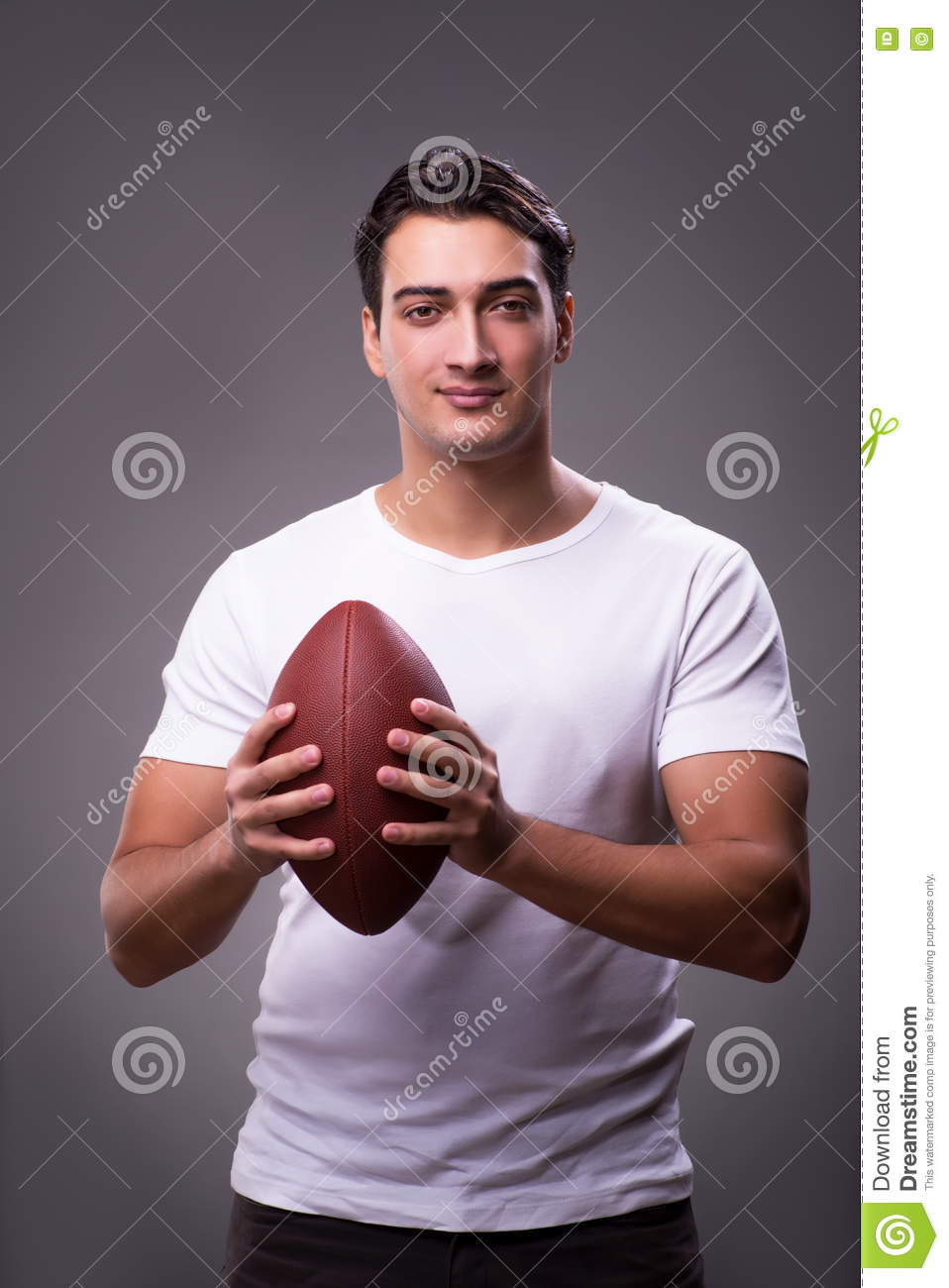 The man with american football in sports concept