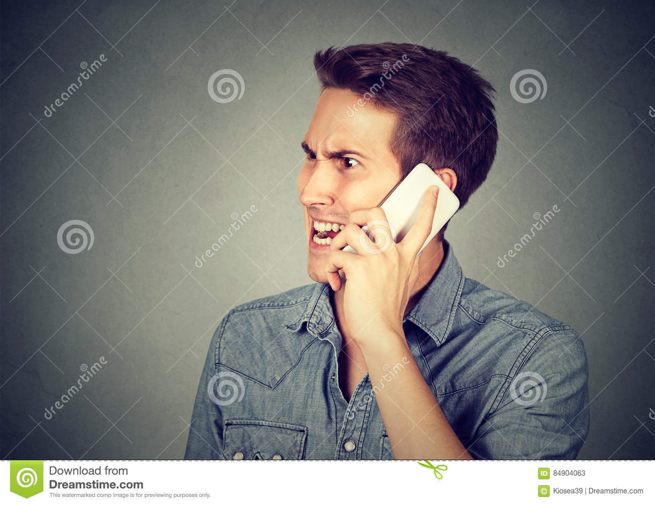 Download Man Annoyed, Frustrated By Someone Talking On Mobile Phone Stock Image - Image of dismay, furious: 84904063