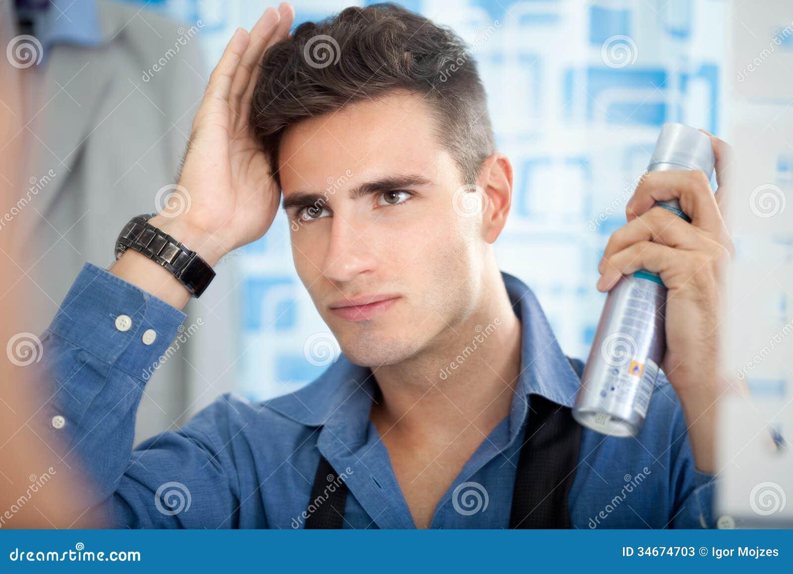 Man Applying Hair Spray Stock Photos Image 34674703