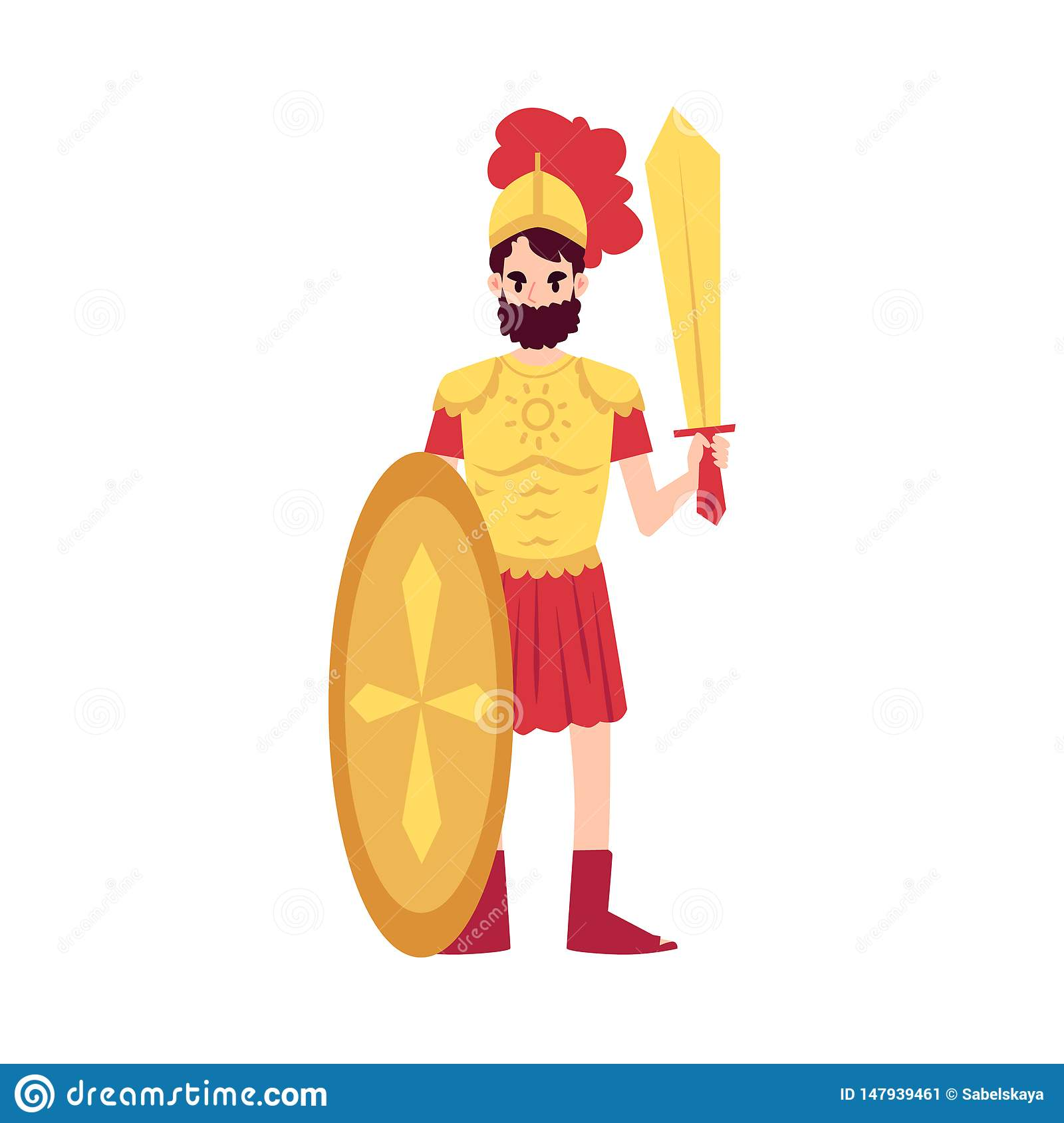 Man Or Ares Greek God Stands In Armor Holding Sword And