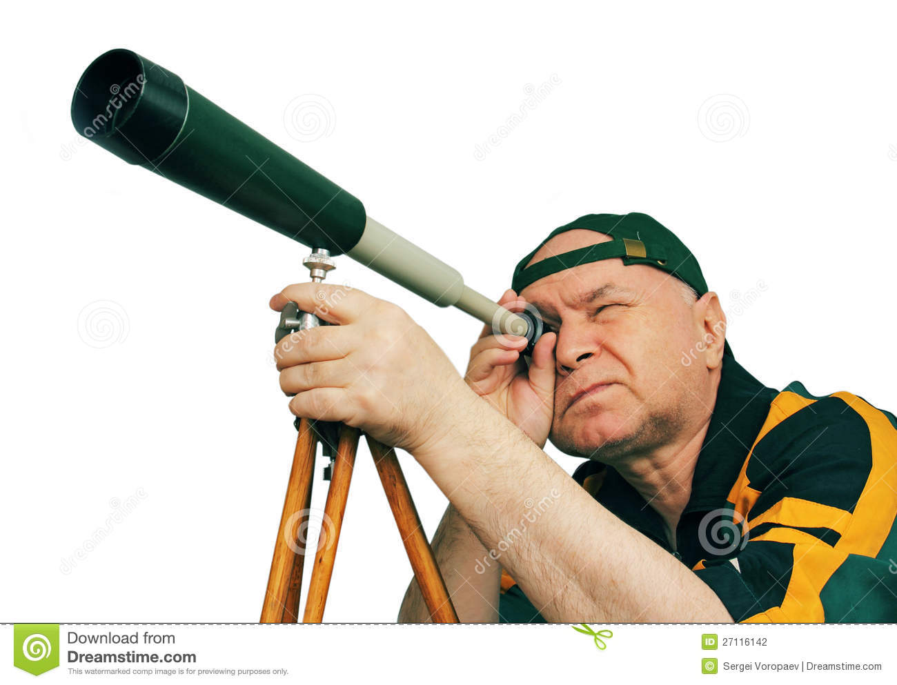 Man, An Astronomer Looking Through A Telescope. Stock ...