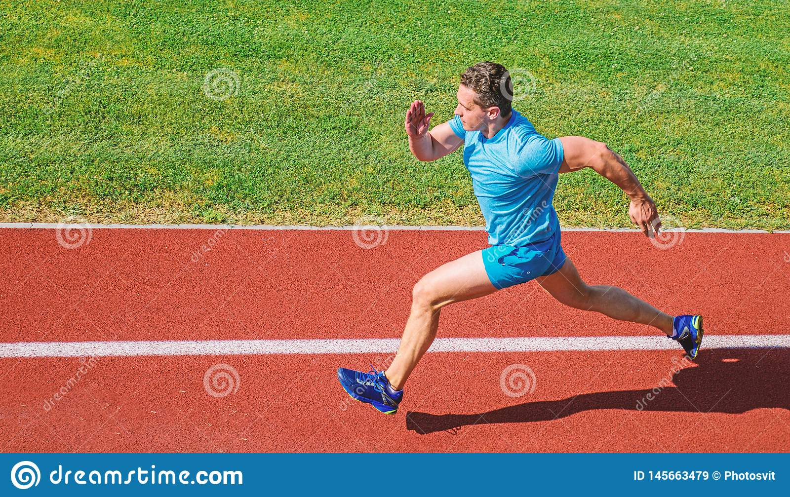 Man athlete run to achieve great result. How run faster. Speed training guide. List ways to improve running speed