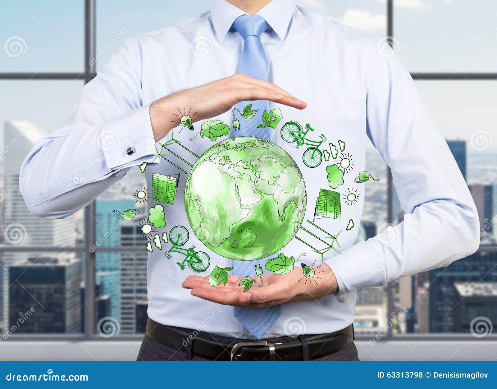 Man att att bry sig om den rena miljön, ecoenergi, skydd