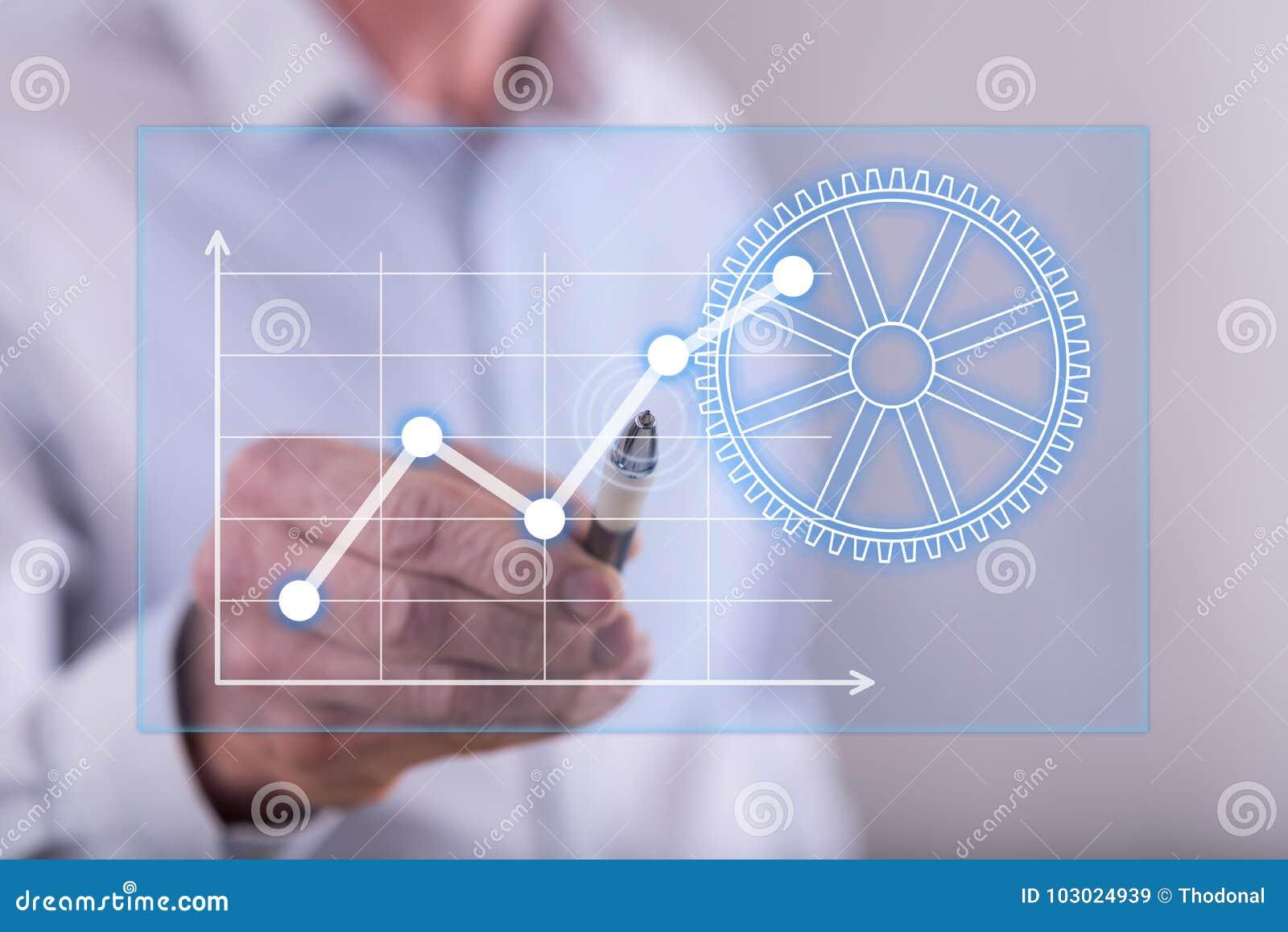 Man att trycka på ett digitalt begrepp för affärsanalys på en pekskärm