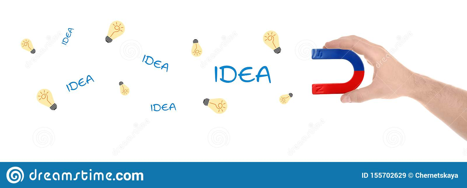 Man Attracting Ideas In Form Of Light Bulbs With Magnet On White Background Creative Design Stock Image Image Of Leader Ideas 155702629