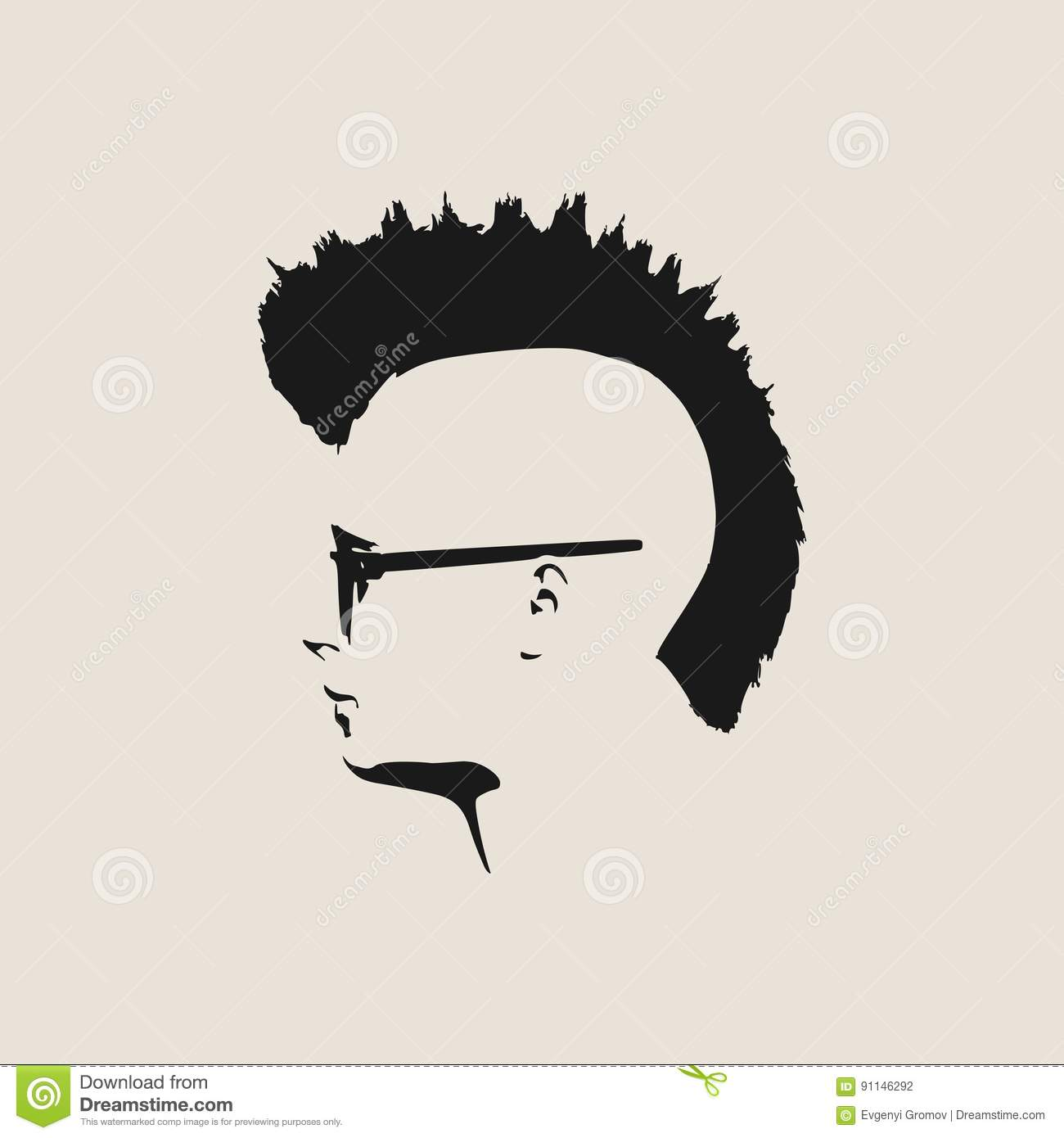 Male face profile silhouette