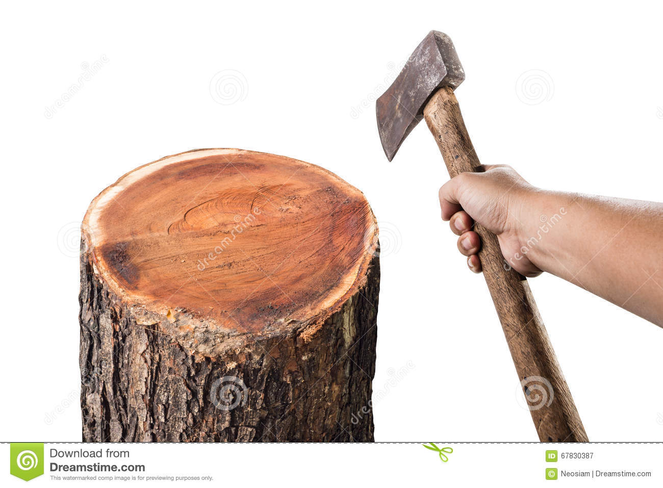A Man With An Axe Chopping Wood Stock Image Image Of Sharp
