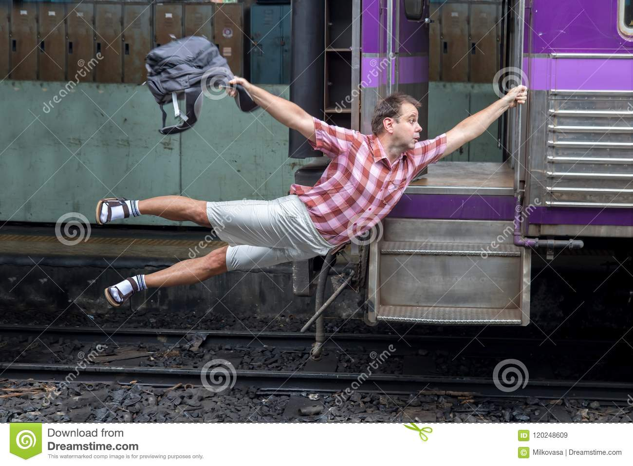 Download Tourist Holding A Moving Train Stock Image - Image of hold, minute: 120248609
