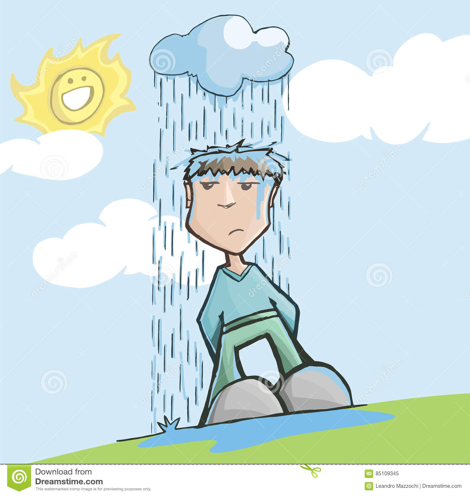 man with bad luck  under a rainy cloud stock vector raindrops vector image black raindrop vector drawing