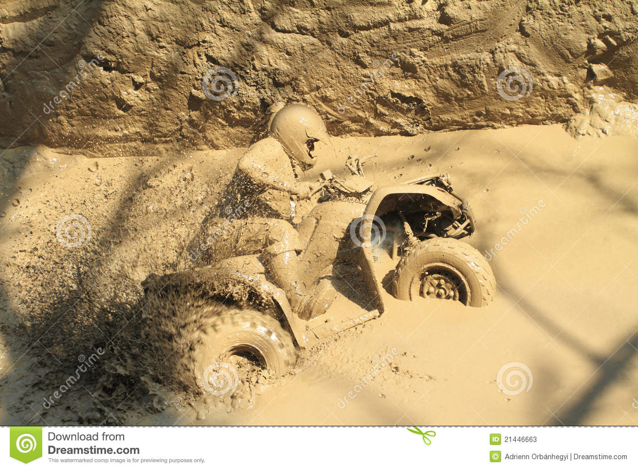 All Terrain Bike >> Man Badly Stuck In Mud With His Quadbike Stock Photos ...