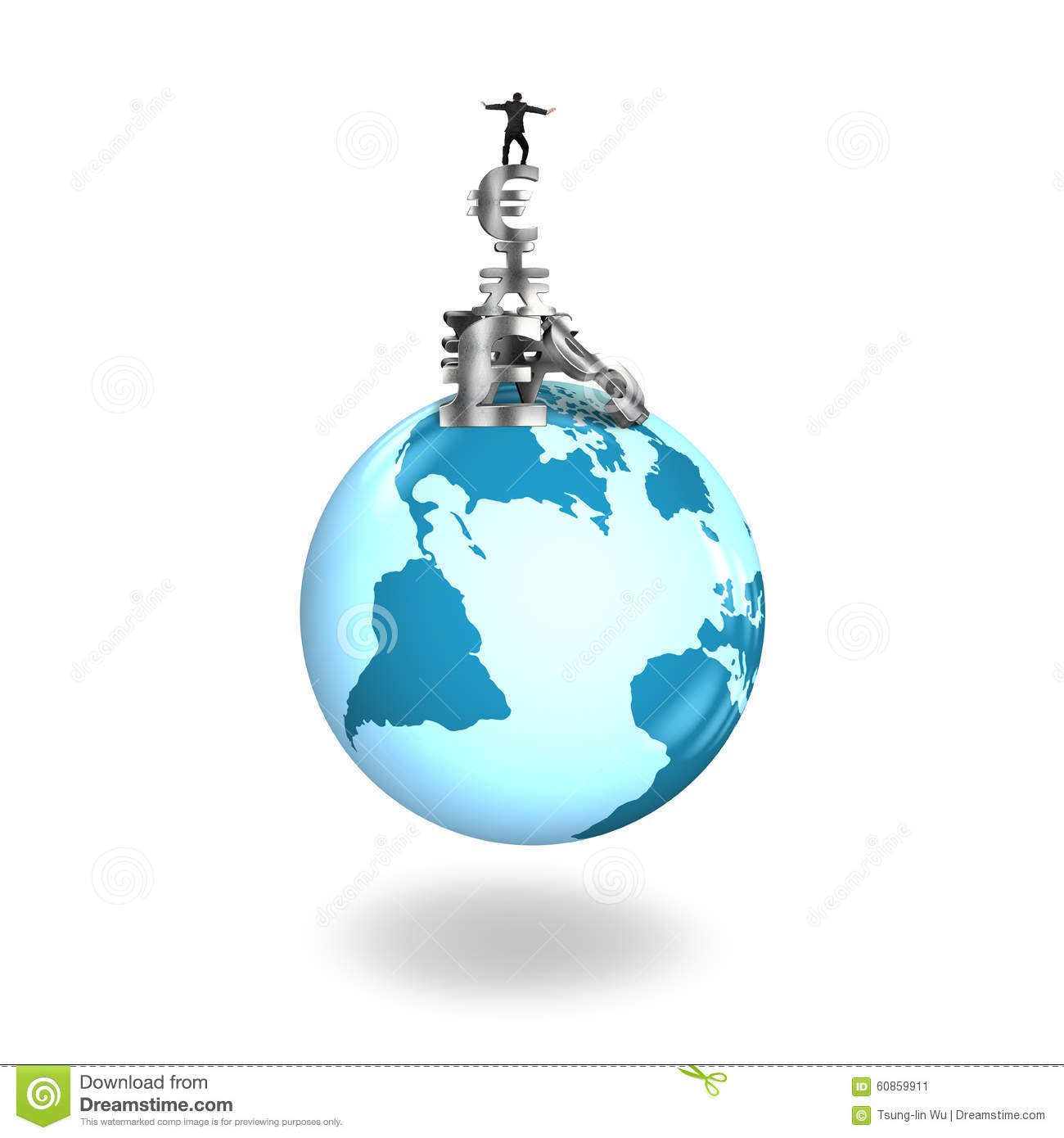 Man Balancing Stack Money Symbols On Globe World Map Stock Image