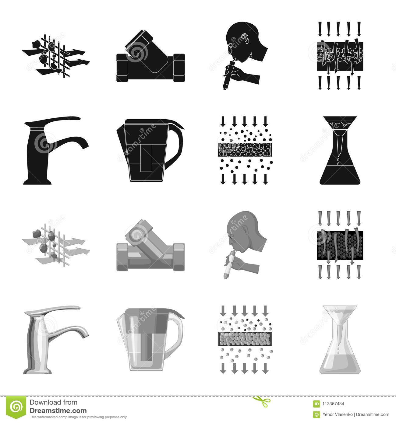 Man Bald Head Hand Water Filtration System Set Collection Icons