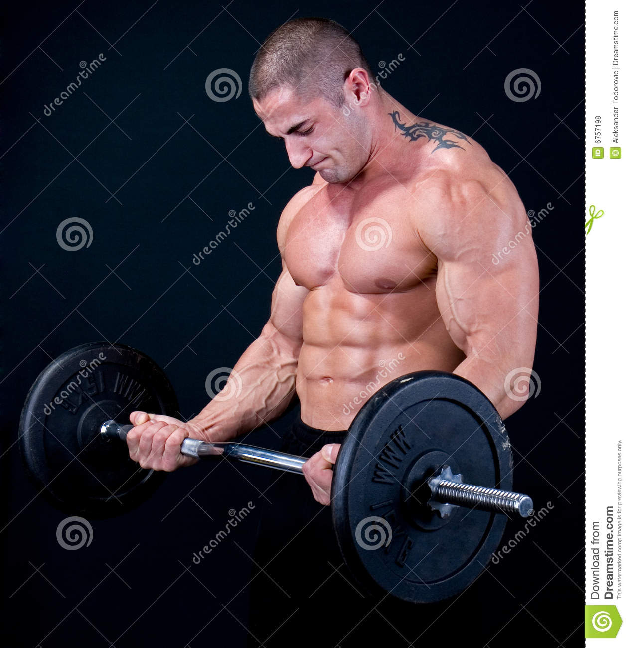 Man with a bar weights in hands